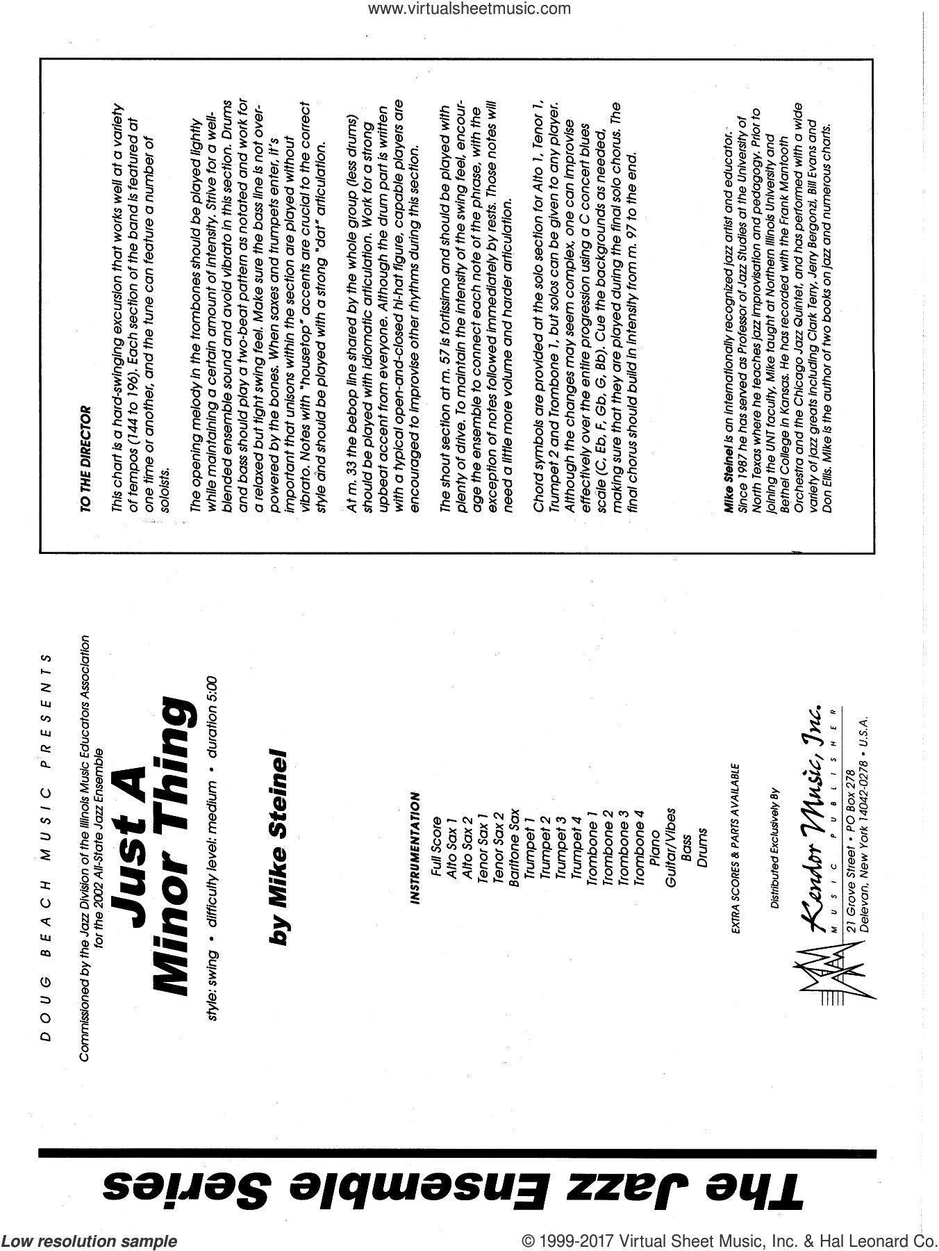 Just A Minor Thing (COMPLETE) sheet music for jazz band by Mike Steinel, intermediate skill level