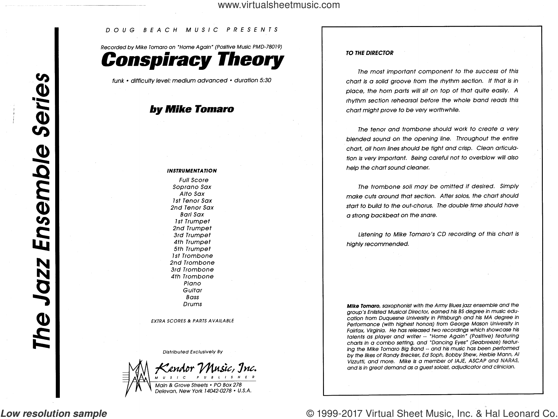 Conspiracy Theory (COMPLETE) sheet music for jazz band by Mike Tomaro, intermediate skill level