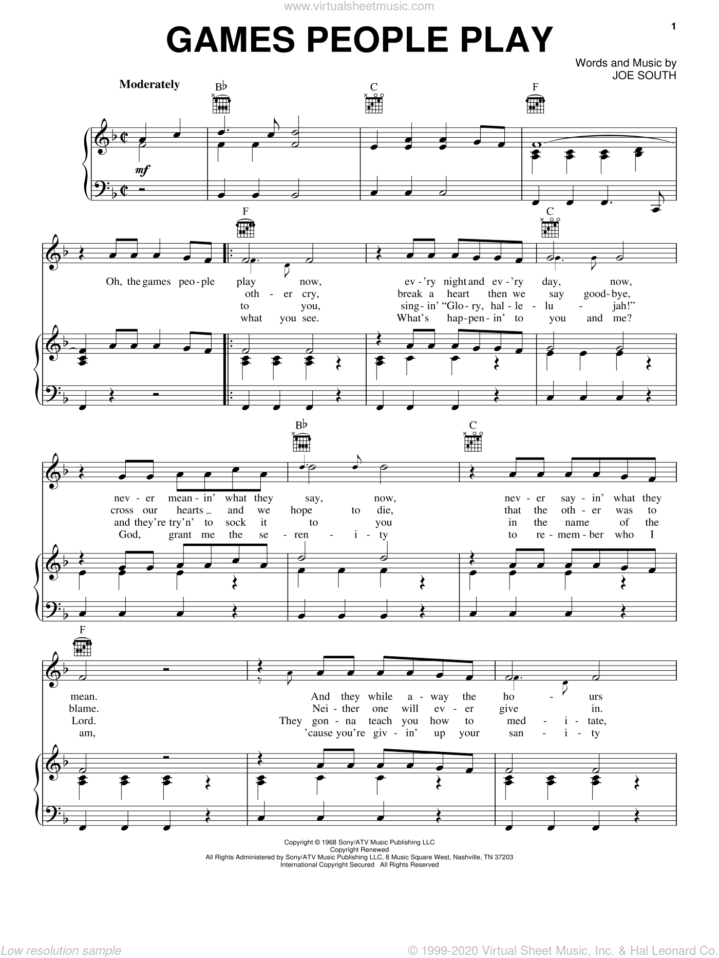 Games People Play sheet music for voice, piano or guitar by Joe South, intermediate skill level