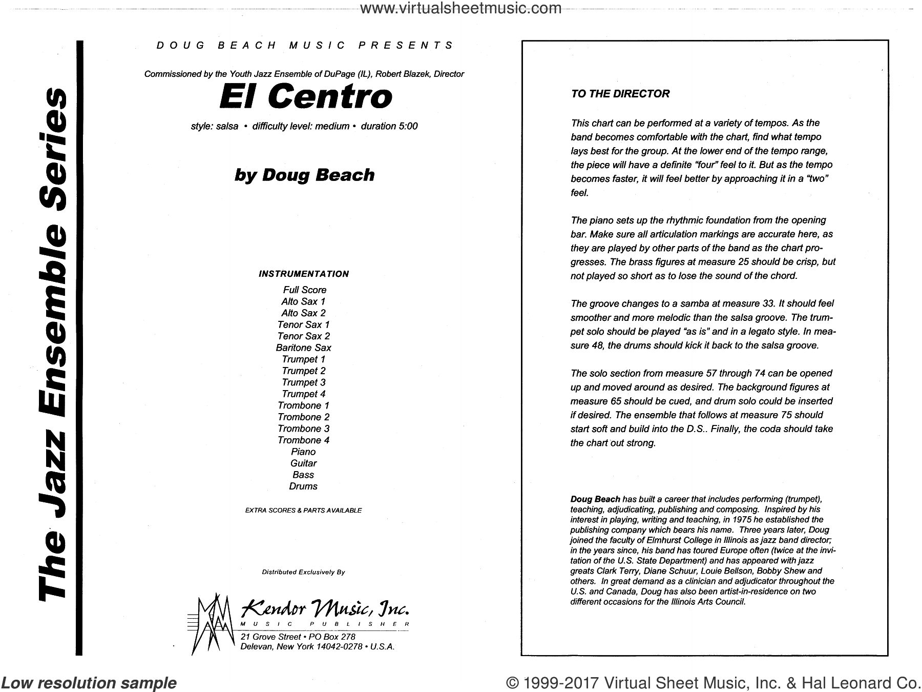 El Centro (COMPLETE) sheet music for jazz band by Neil Slater, intermediate skill level