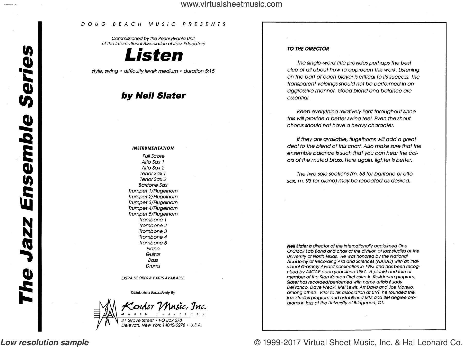 Listen (COMPLETE) sheet music for jazz band by Neil Slater, intermediate skill level