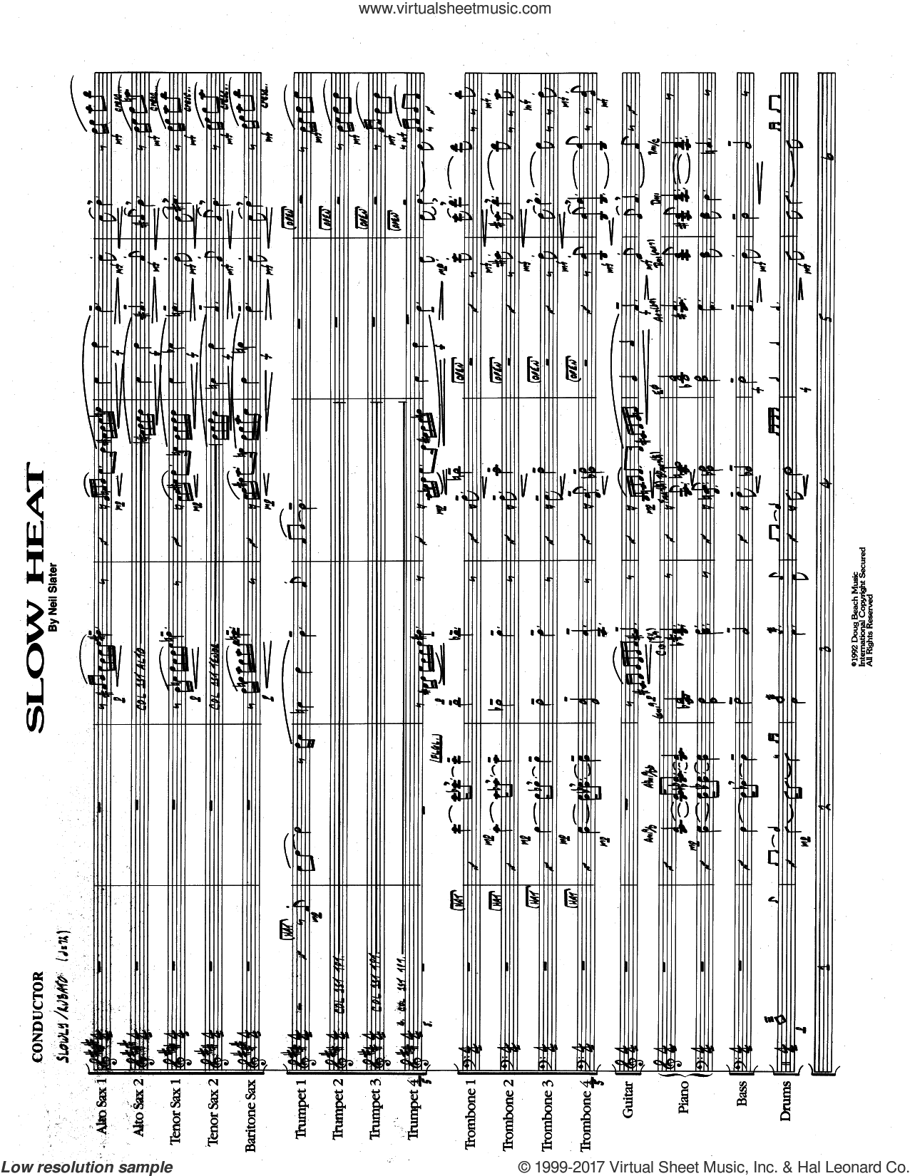 Slow Heat (COMPLETE) sheet music for jazz band by Neil Slater, intermediate skill level