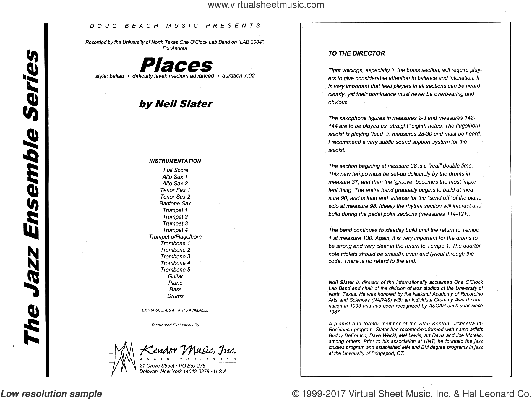 Places (COMPLETE) sheet music for jazz band by Neil Slater, intermediate jazz band. Score Image Preview.