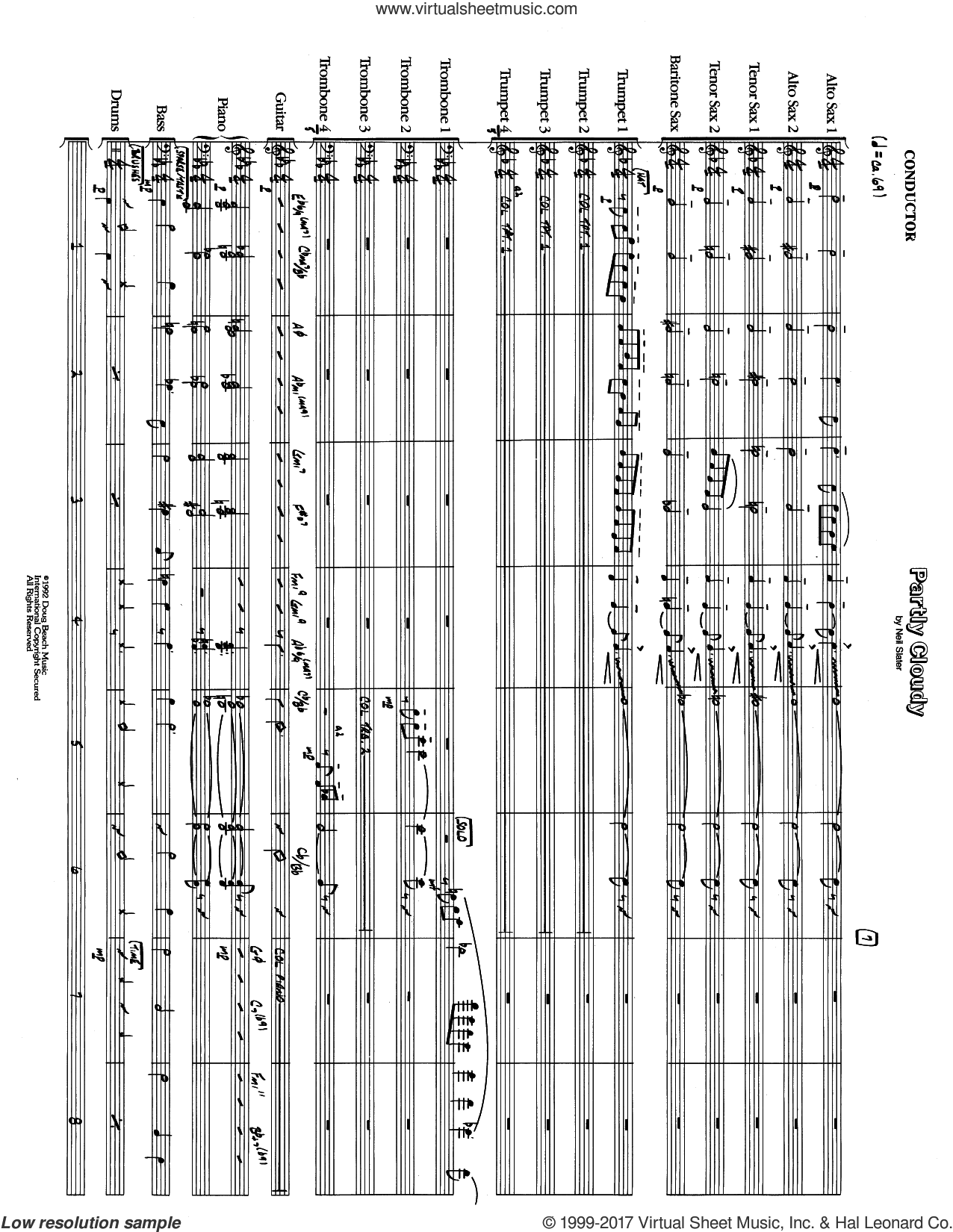 Partly Cloudy (COMPLETE) sheet music for jazz band by Neil Slater, intermediate. Score Image Preview.