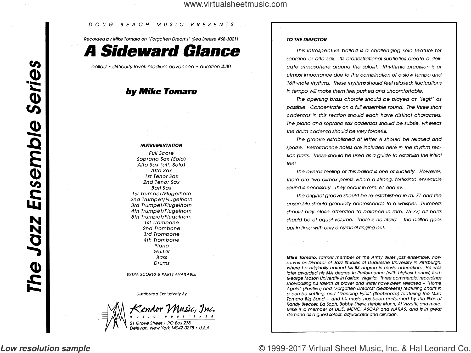 A Sideward Glance (COMPLETE) sheet music for jazz band by Mike Tomaro, intermediate skill level