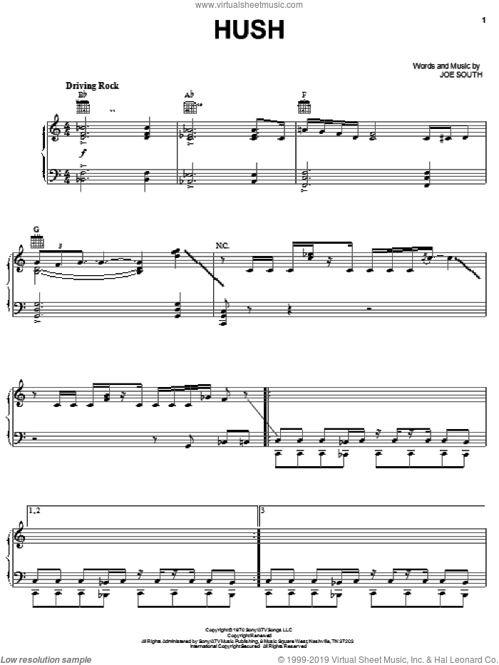 Hush sheet music for voice, piano or guitar by Deep Purple and Joe South, intermediate skill level