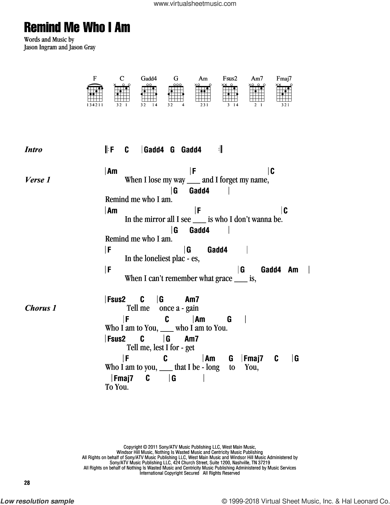 Remind Me Who I Am sheet music for guitar (chords) by Jason Ingram and Jason Gray. Score Image Preview.