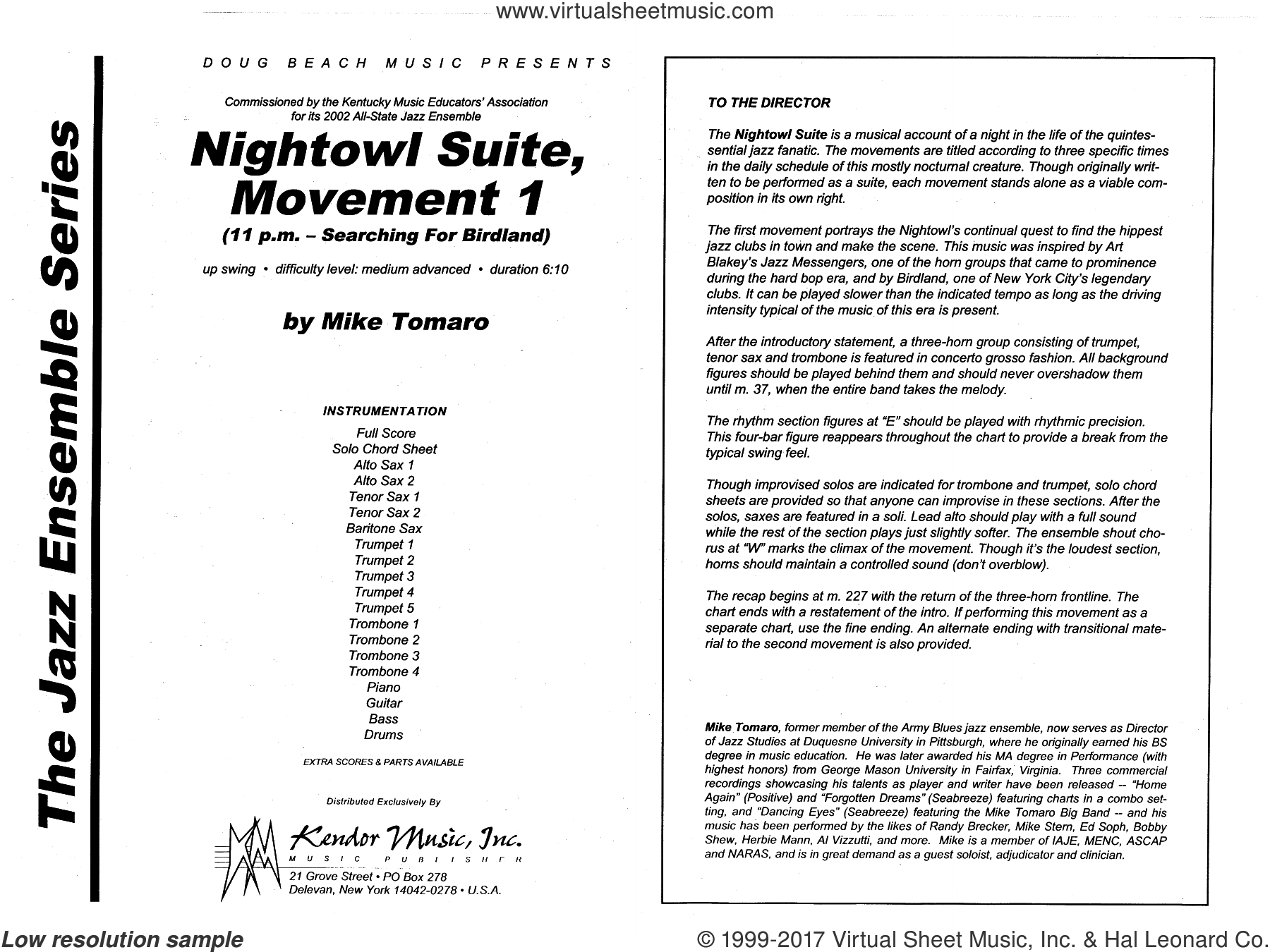 Nightowl Suite, Mvt. 1 (COMPLETE) sheet music for jazz band by Mike Tomaro, intermediate
