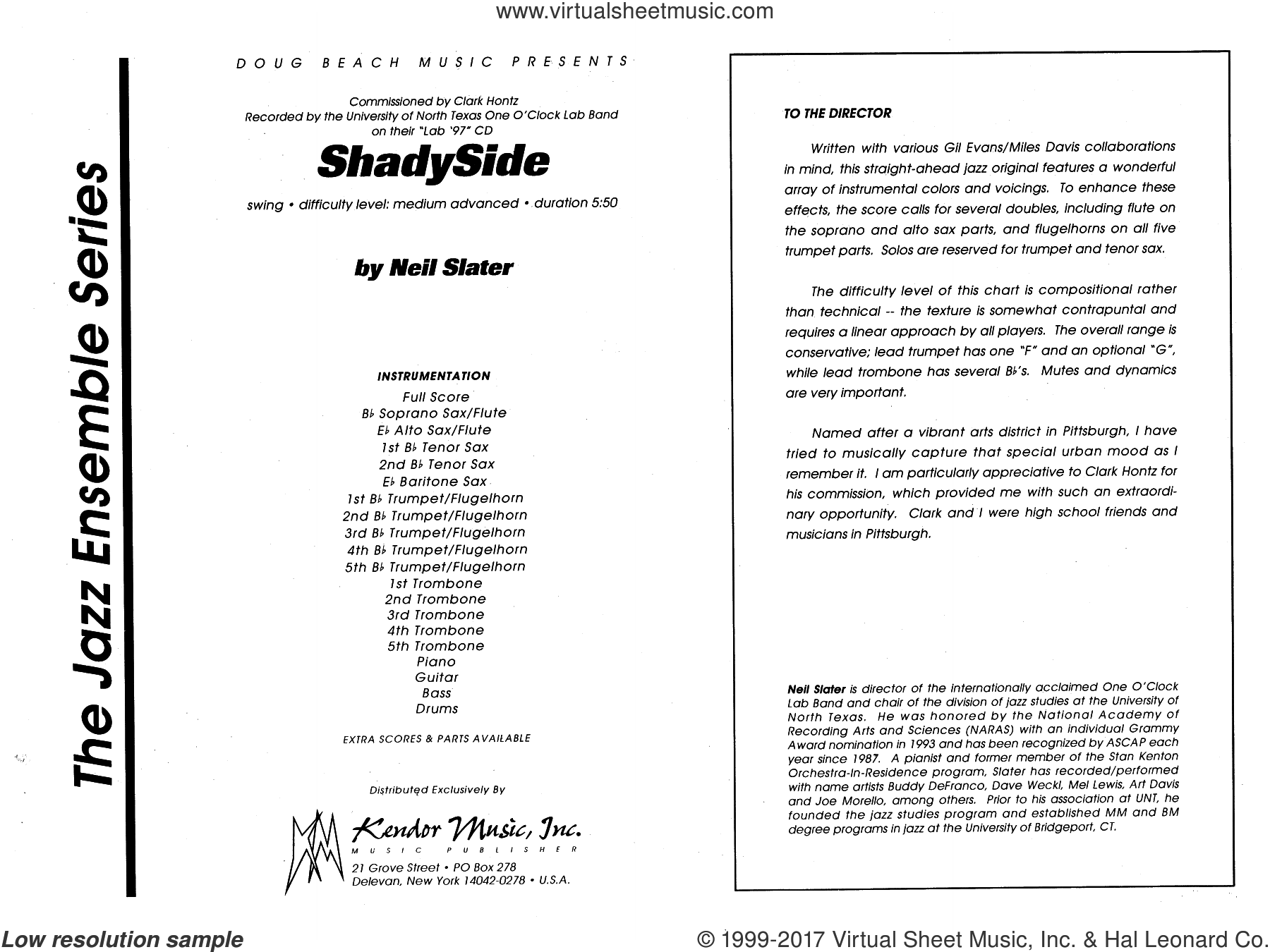 Shadyside (COMPLETE) sheet music for jazz band by Neil Slater, intermediate skill level