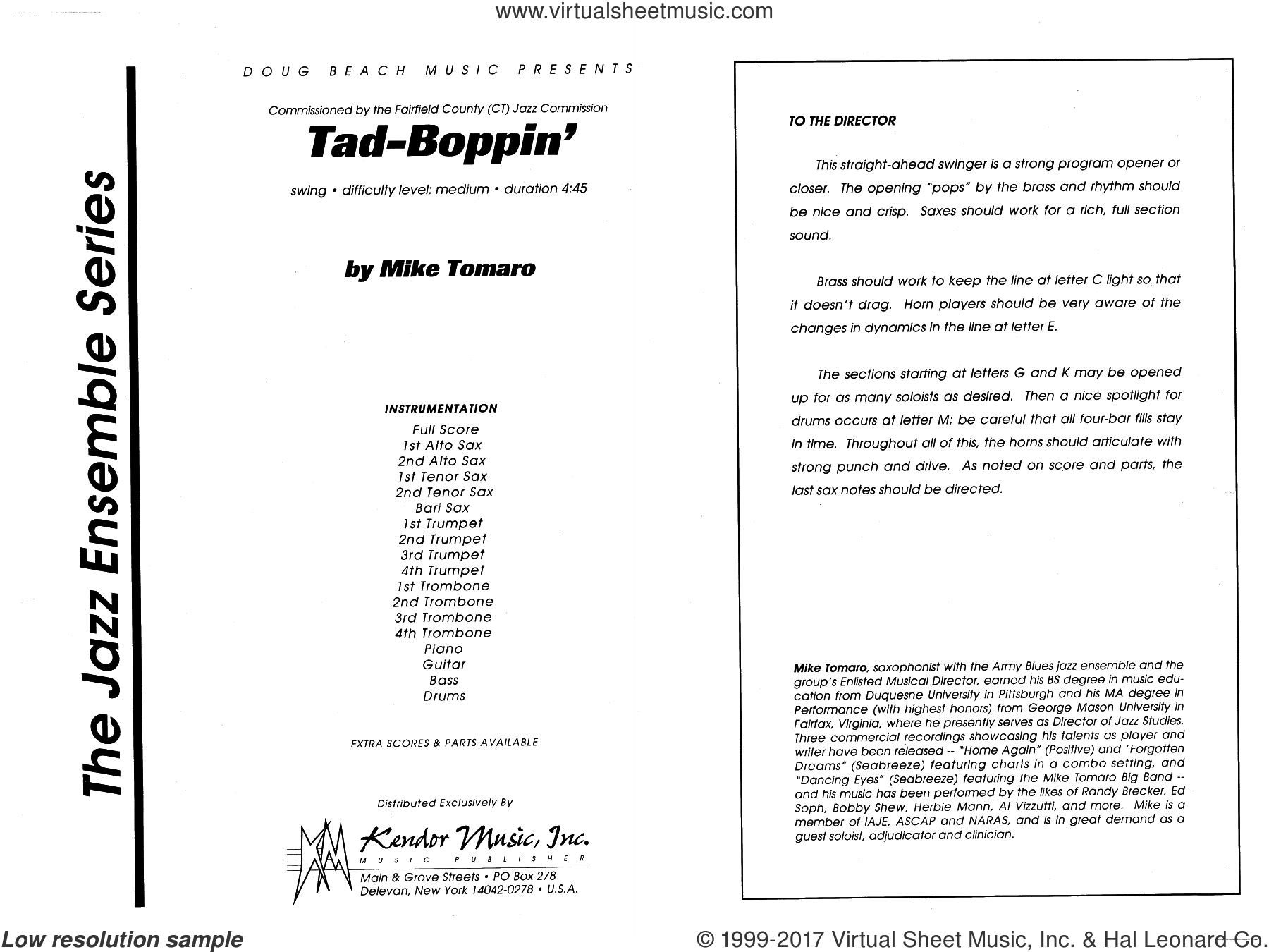 Tad-Boppin (COMPLETE) sheet music for jazz band by Mike Tomaro, intermediate jazz band. Score Image Preview.