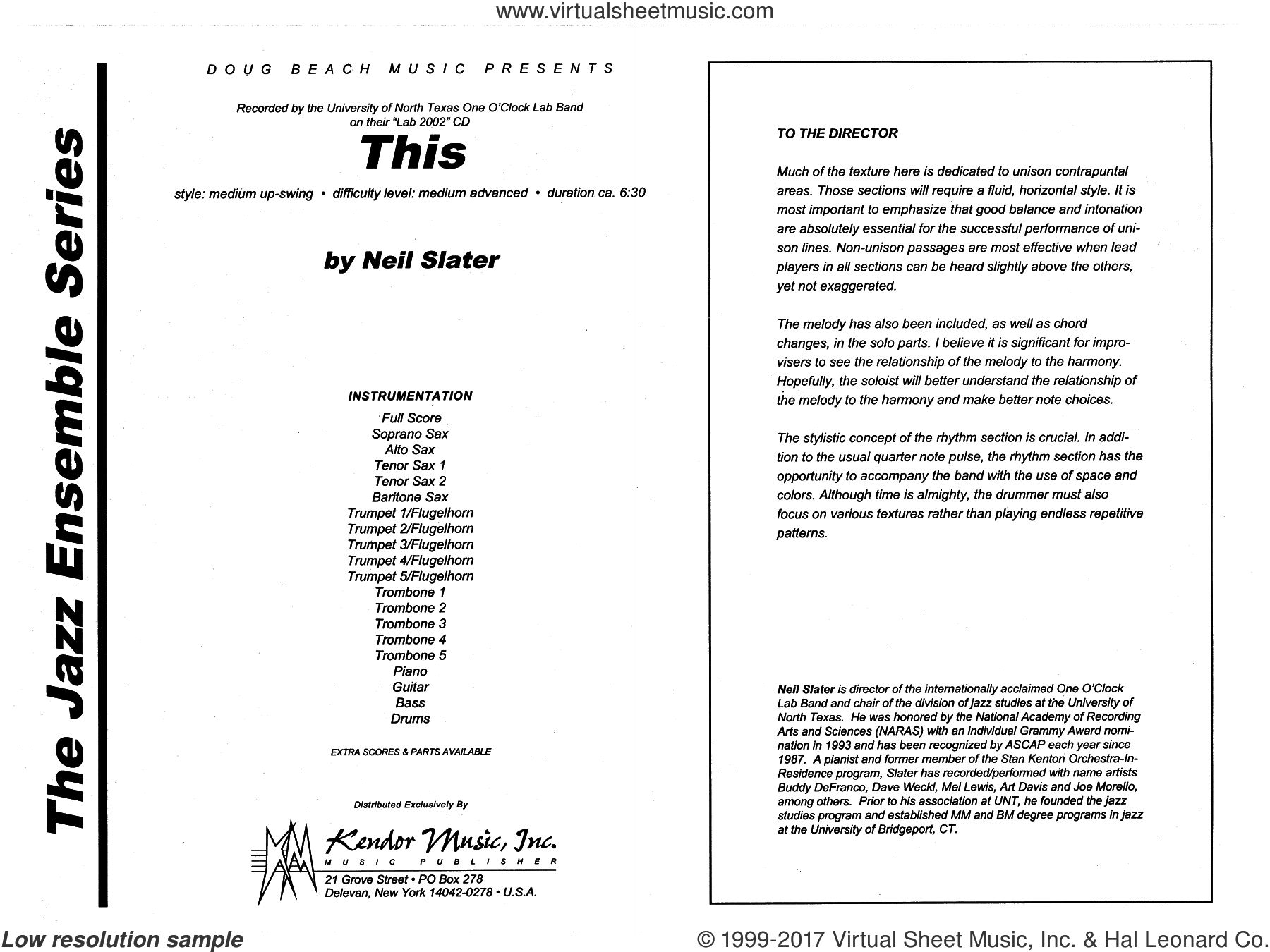 This (COMPLETE) sheet music for jazz band by Neil Slater, intermediate. Score Image Preview.