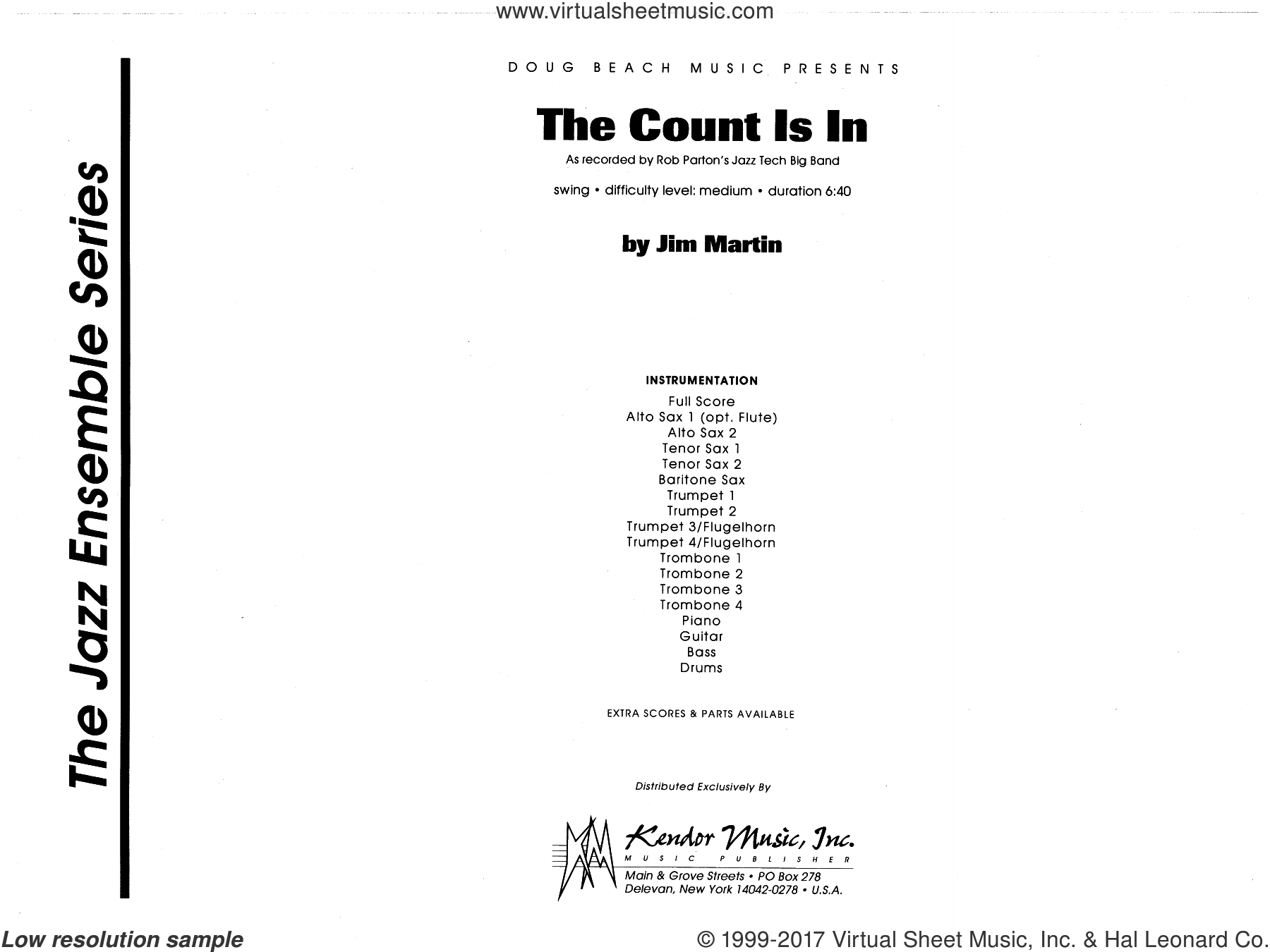 The Count Is In (COMPLETE) sheet music for jazz band by Martin, intermediate skill level