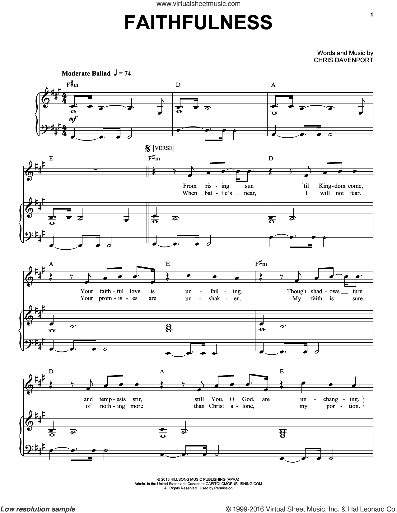 Faithfulness sheet music for voice and piano by Hillsong United, intermediate voice. Score Image Preview.