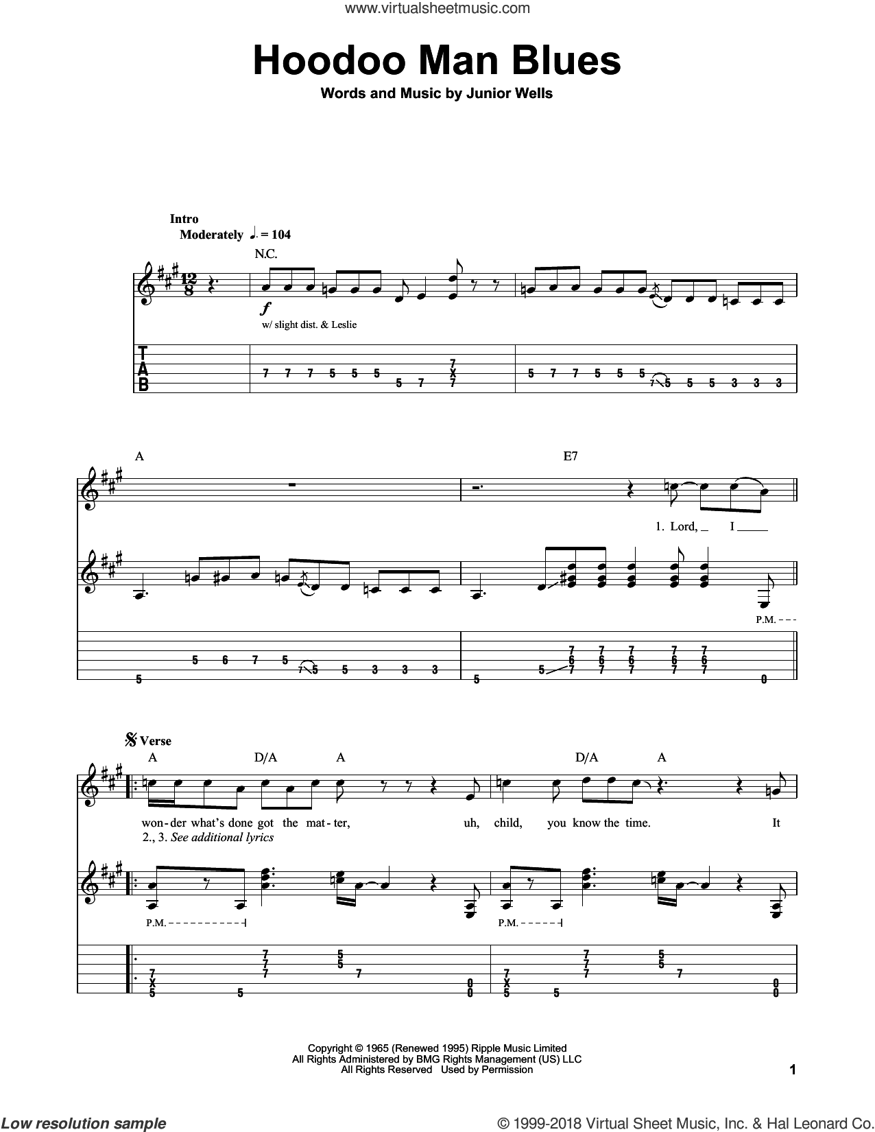 Hoodoo Man Blues sheet music for guitar (tablature, play-along) by Buddy Guy and Eric Clapton, intermediate. Score Image Preview.