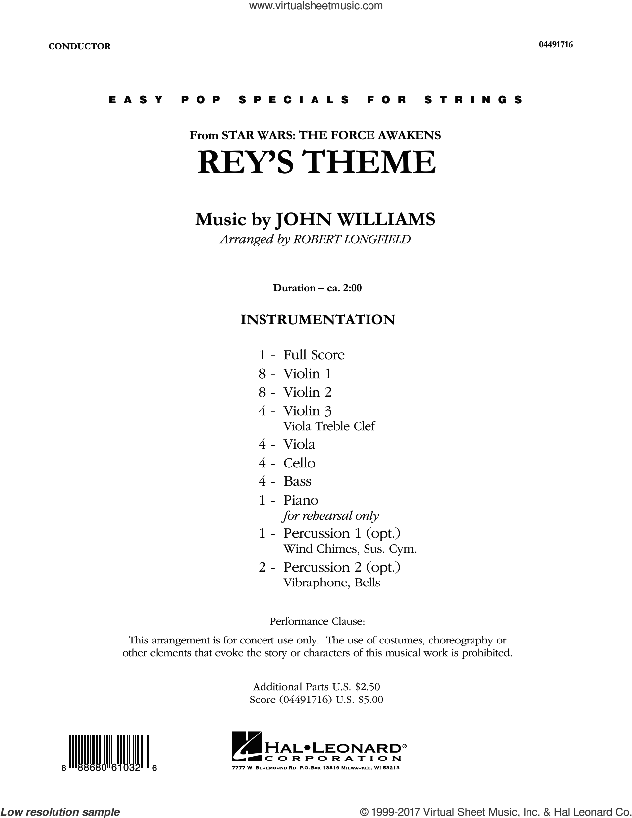 Rey's Theme (from Star Wars: The Force Awakens) (COMPLETE) sheet music for orchestra by John Williams and Robert Longfield, classical score, intermediate. Score Image Preview.