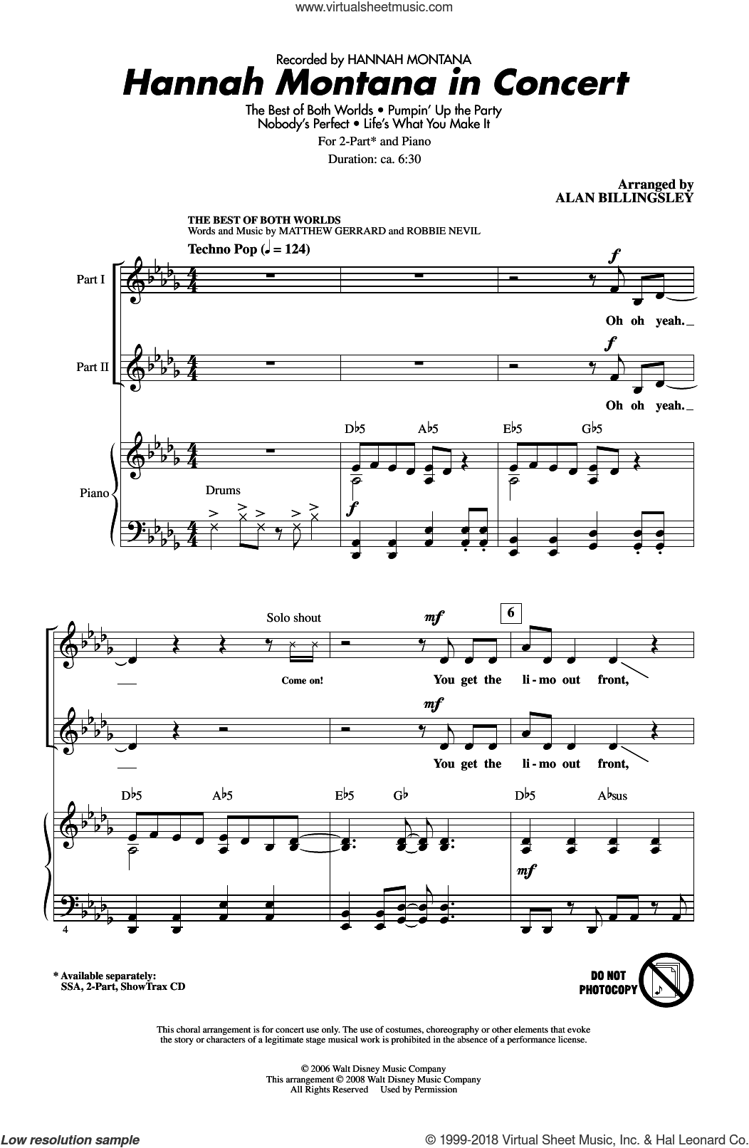 Hannah Montana In Concert sheet music for choir (2-Part) by Matthew Gerrard, Alan Billingsley, Hannah Montana and Robbie Nevil, intermediate duet