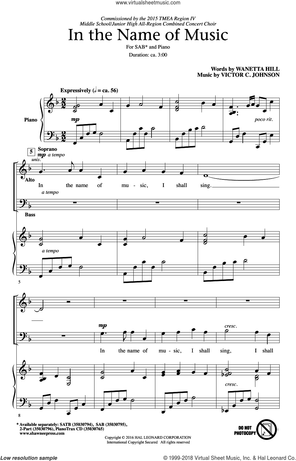 In The Name Of Music sheet music for choir and piano (SAB) by Victor Johnson. Score Image Preview.