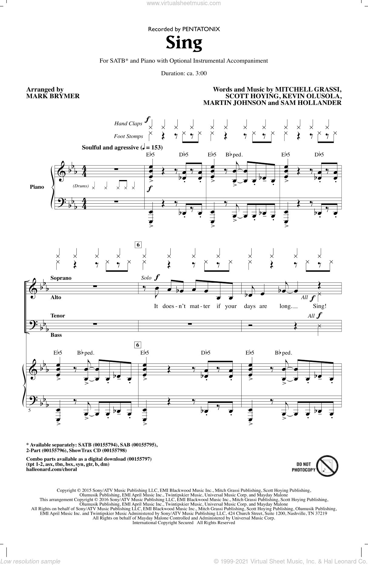 Sing sheet music for choir (SATB) by Mark Brymer, Pentatonix, Kevin Olusola, Martin Johnson, Sam Hollander and Scott Hoying. Score Image Preview.