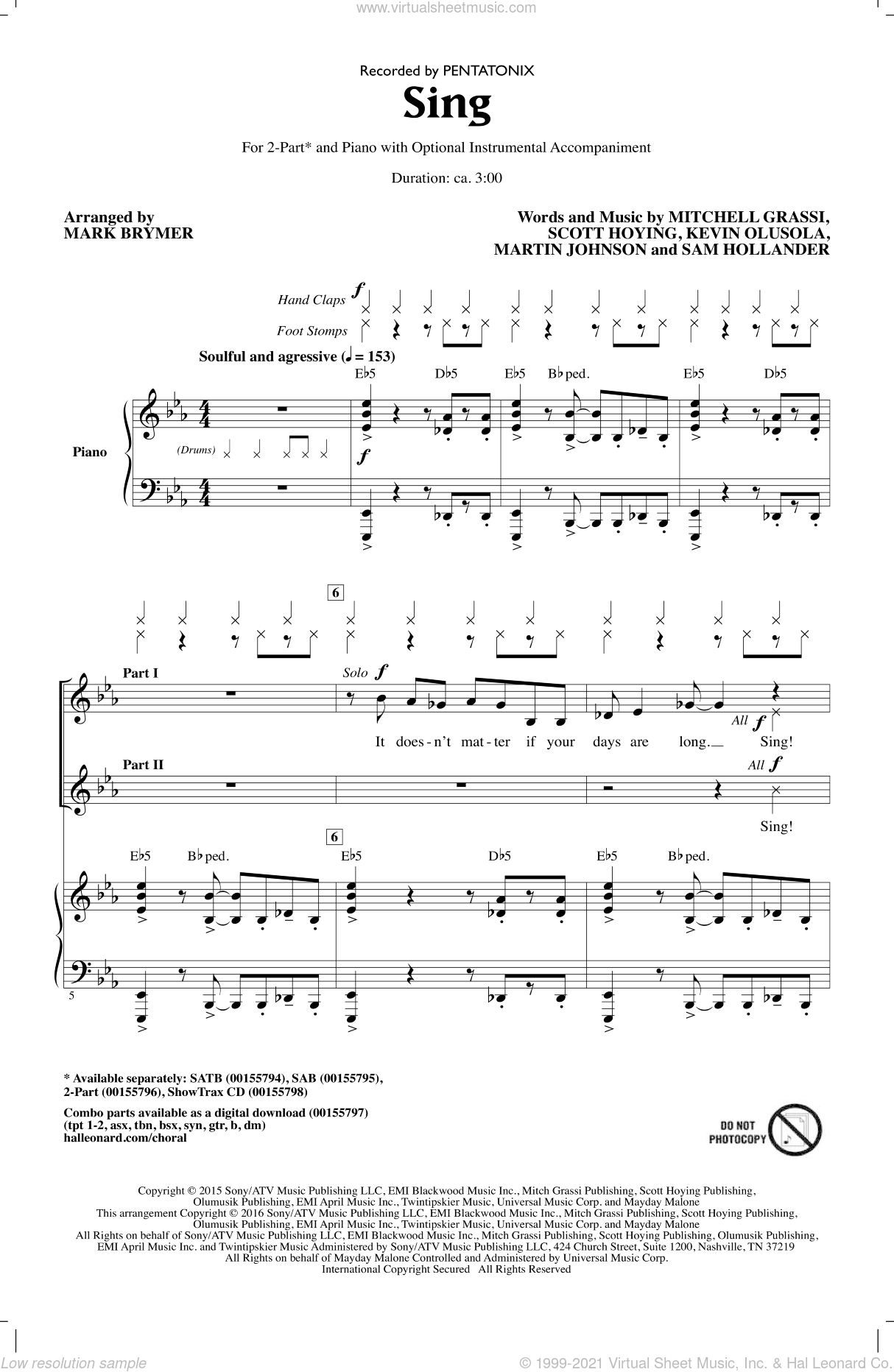 Sing sheet music for choir and piano (duets) by Mark Brymer