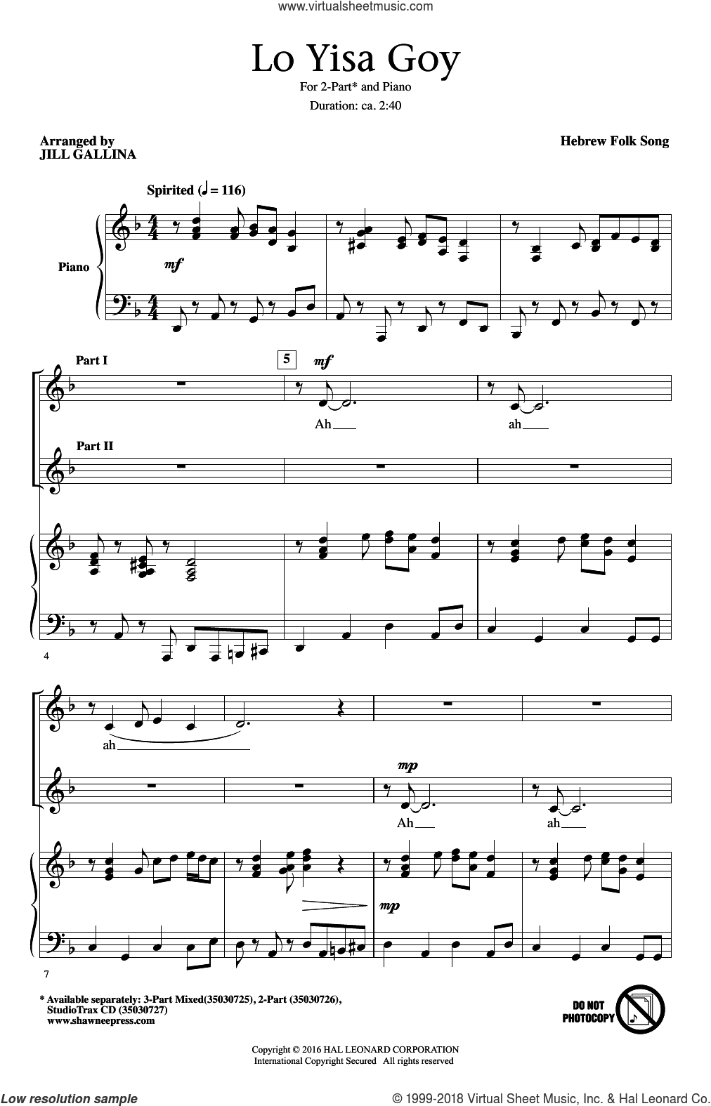 Lo Yisa Goy sheet music for choir (duets) by Jill Gallina. Score Image Preview.