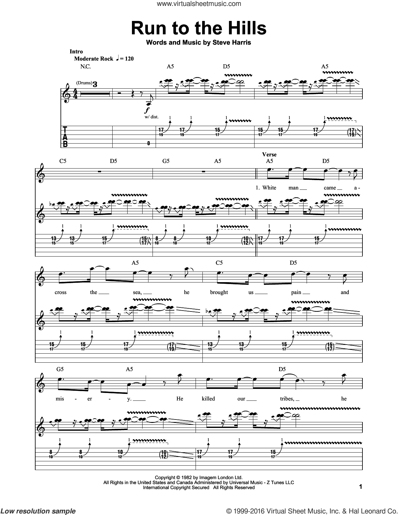 Run To The Hills sheet music for guitar (tablature, play-along) by Steve Harris and Iron Maiden. Score Image Preview.