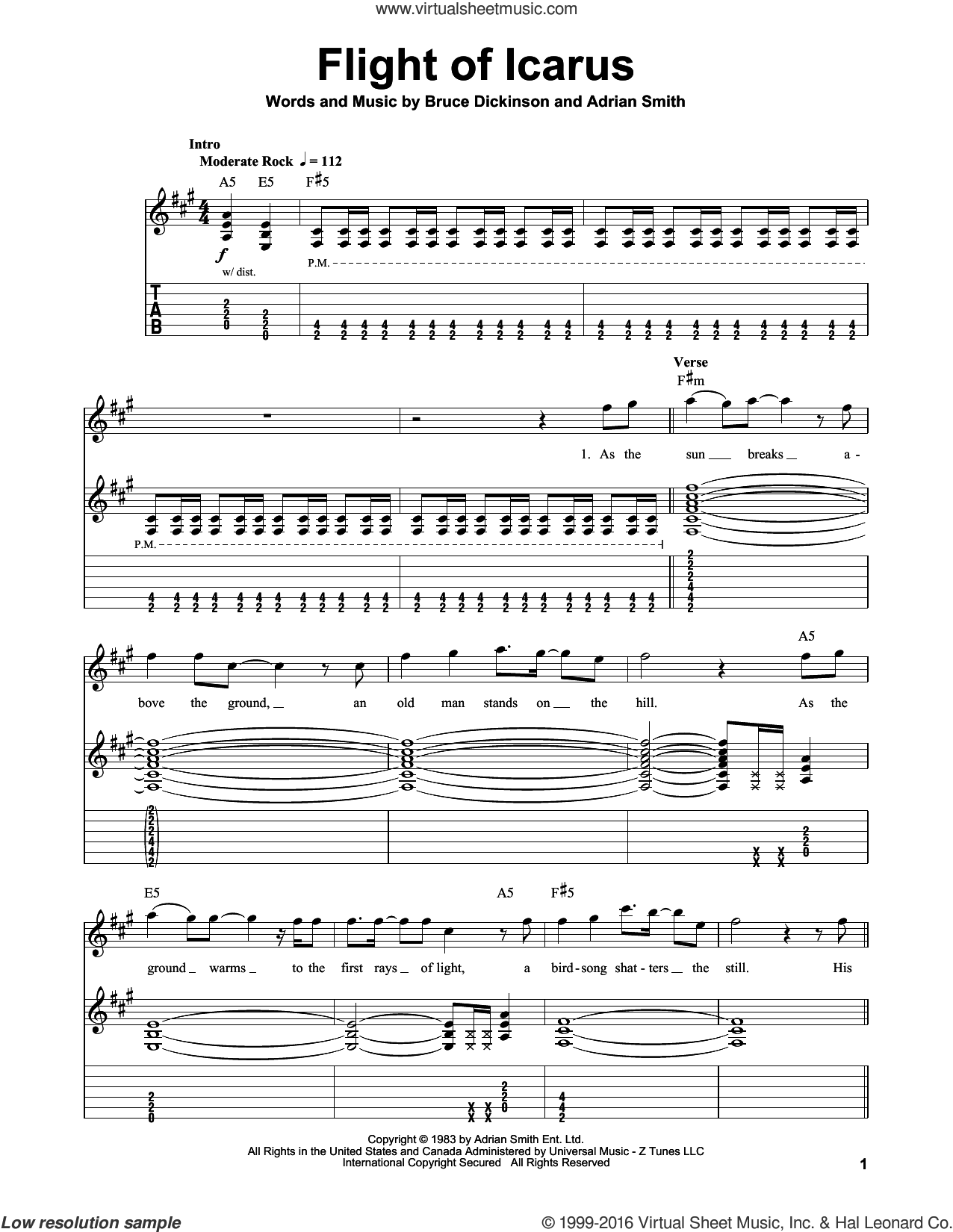 Flight Of Icarus sheet music for guitar (tablature, play-along) by Iron Maiden, Adrian Smith and Bruce Dickinson, intermediate skill level