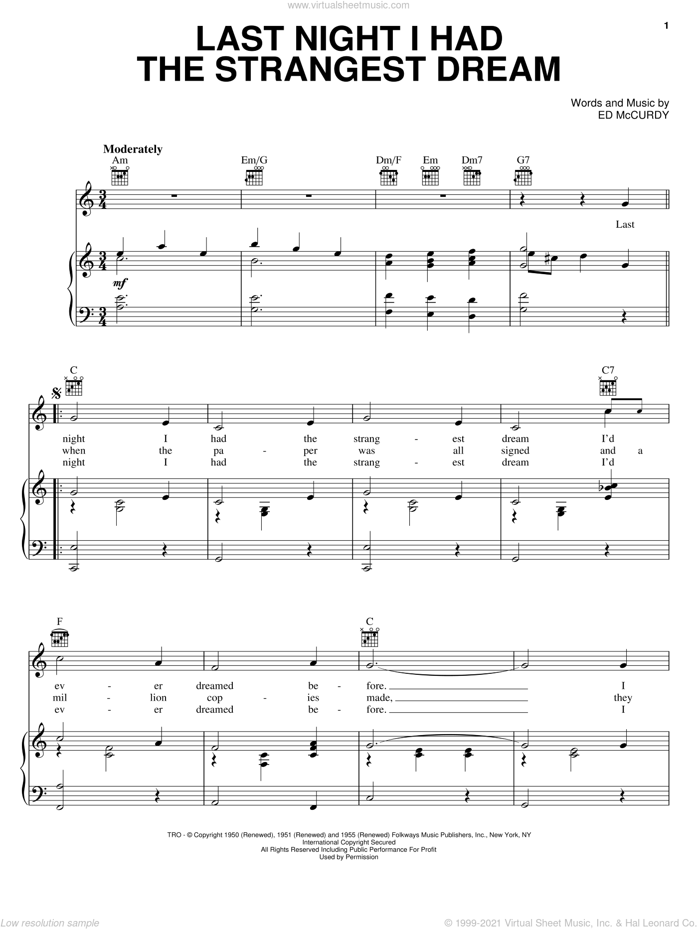 Last Night I Had The Strangest Dream sheet music for voice, piano or guitar by Ed McCurdy