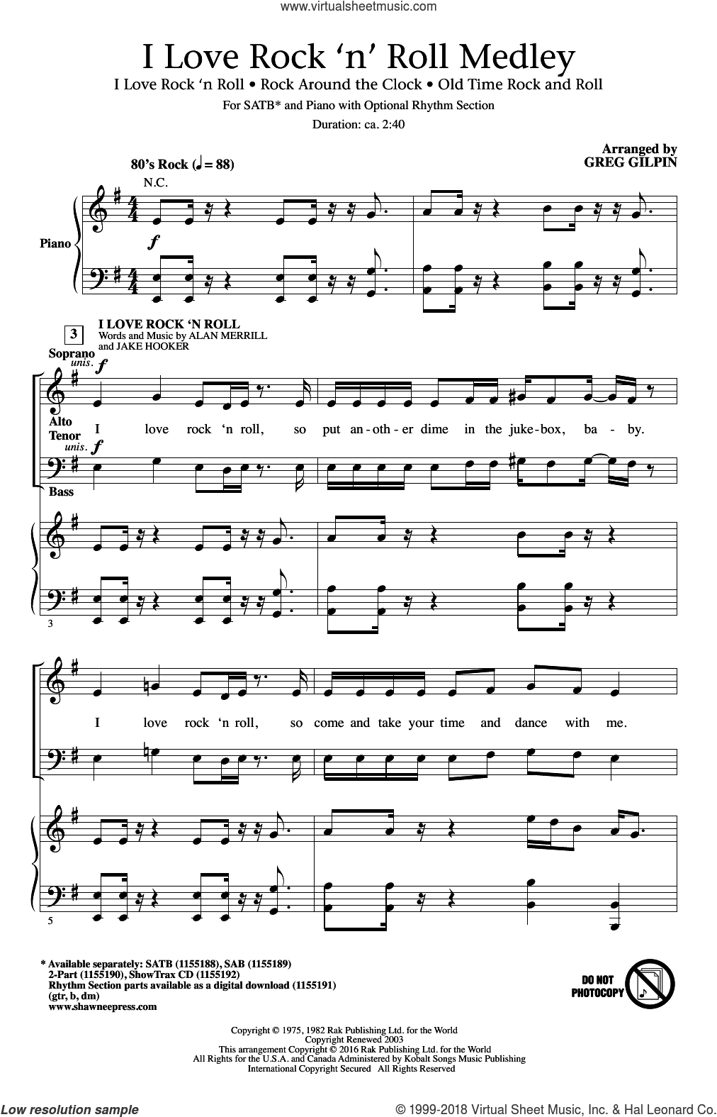 I Love Rock 'N Roll sheet music for choir and piano (SATB) by Greg Gilpin, George Jackson, Joan Jett & The Blackhearts, Max C. Freedman, Tom Jones and Jake Hooker. Score Image Preview.