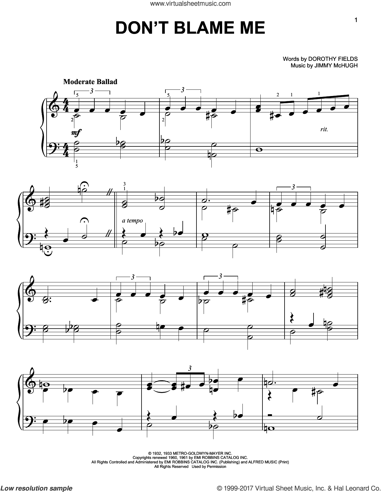 Don't Blame Me sheet music for piano solo by Jimmy McHugh and Dorothy Fields, easy skill level