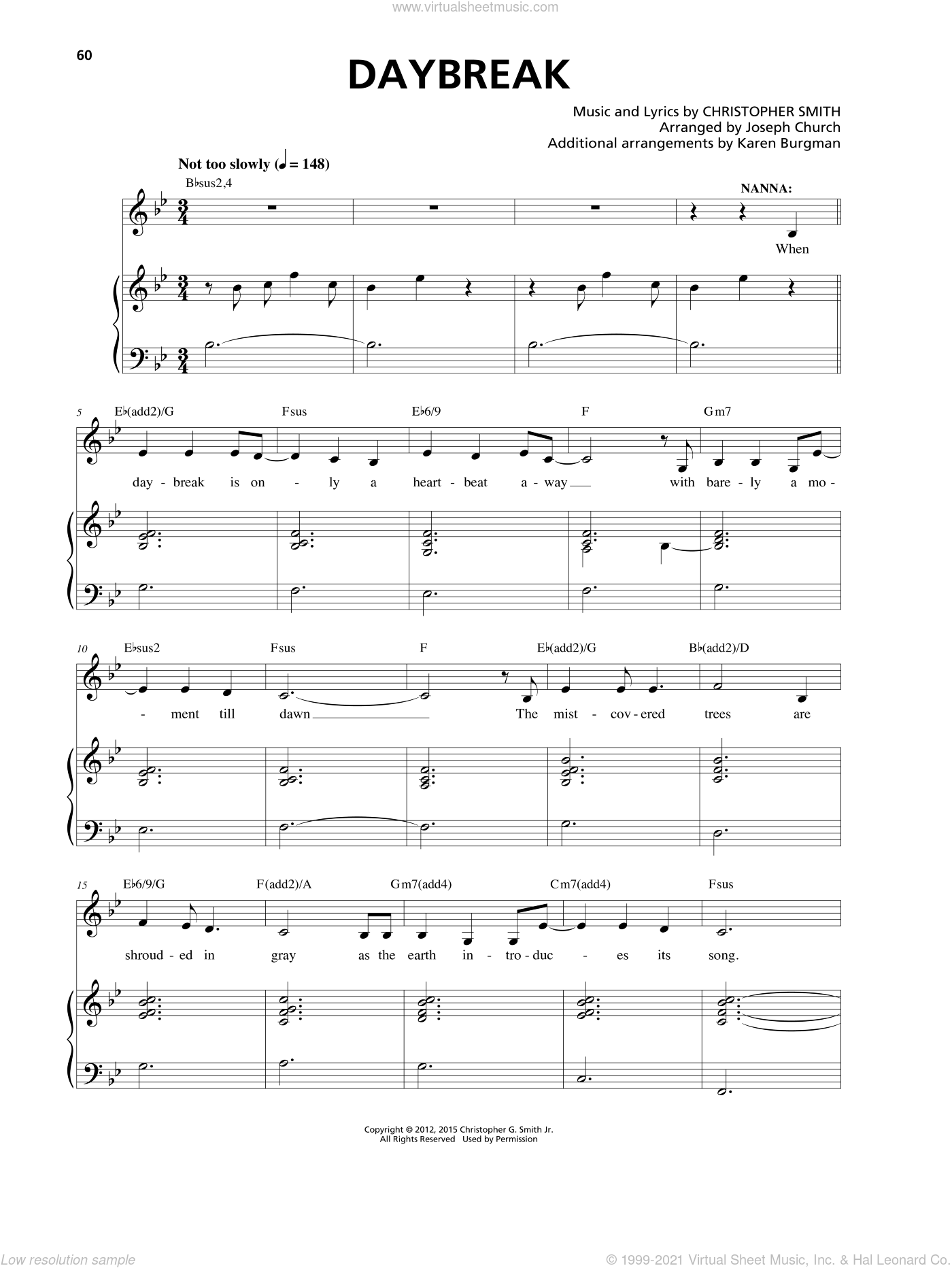 Daybreak sheet music for voice and piano by Christopher Smith. Score Image Preview.