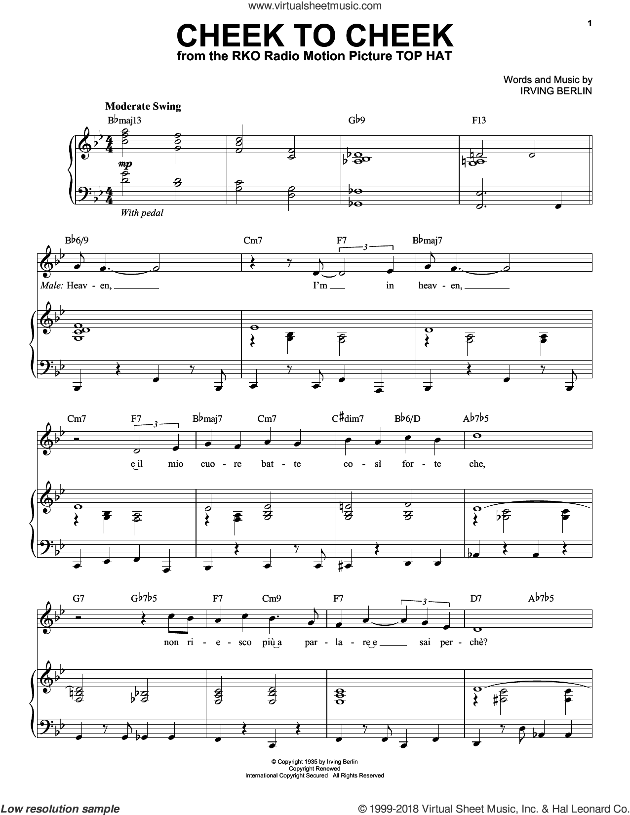 Cheek To Cheek sheet music for voice and piano by Andrea Bocelli, Fred Astaire and Irving Berlin, intermediate skill level