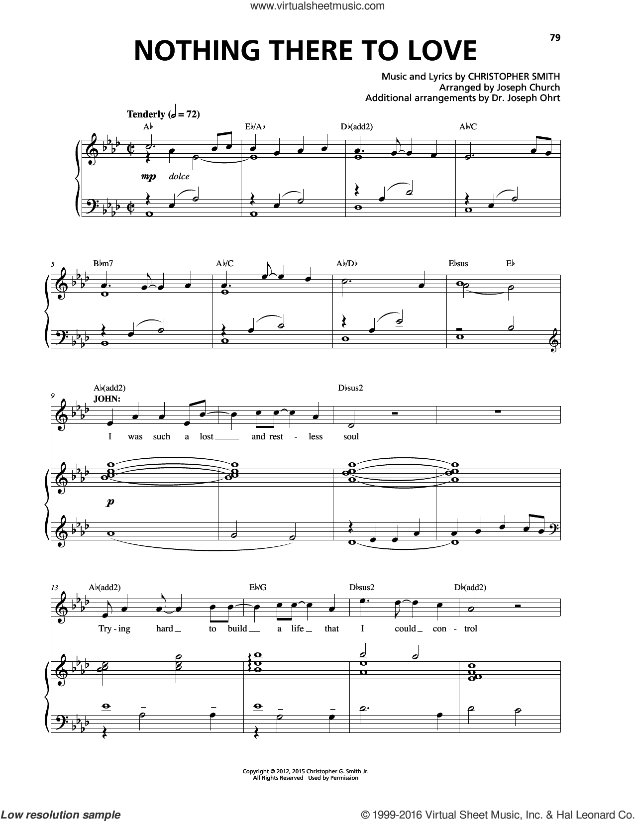 Nothing There To Love sheet music for voice and piano by Christopher Smith. Score Image Preview.
