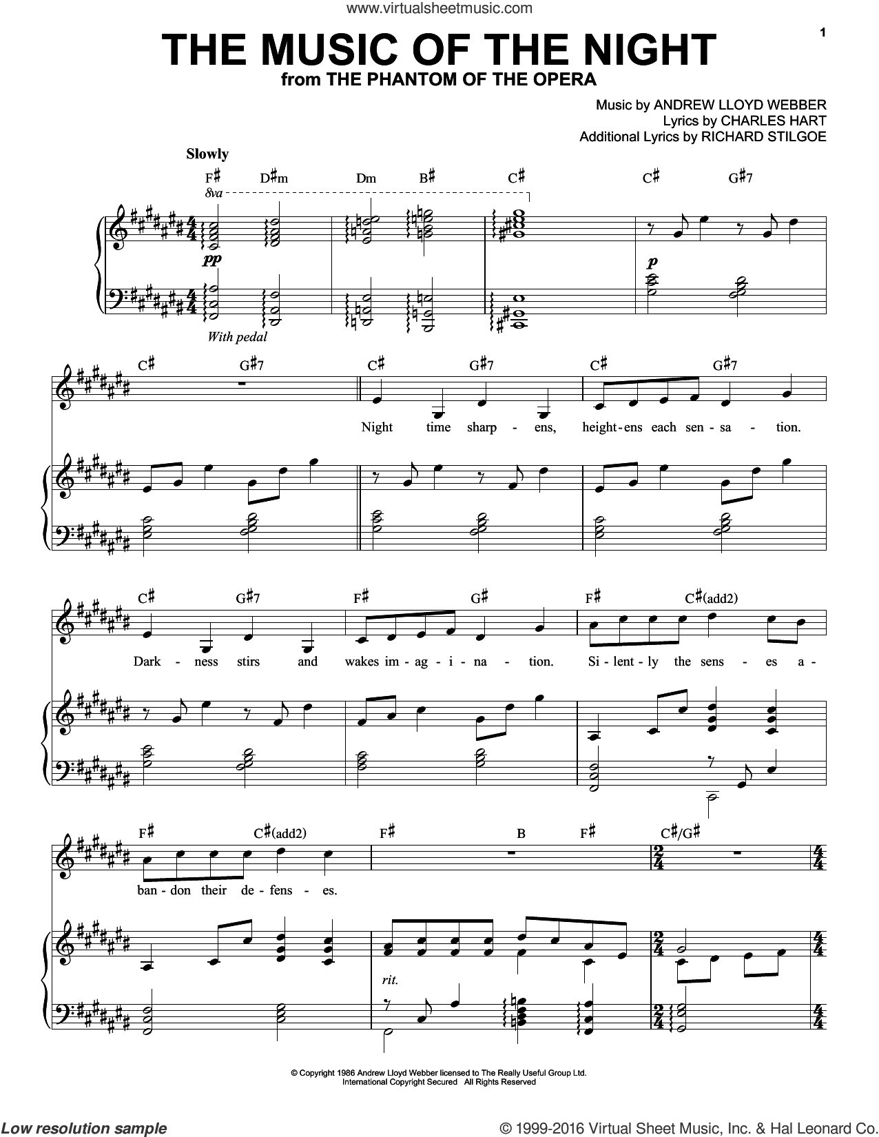 The Music Of The Night sheet music for voice and piano by Andrea Bocelli, David Cook, Andrew Lloyd Webber, Charles Hart and Richard Stilgoe, intermediate skill level