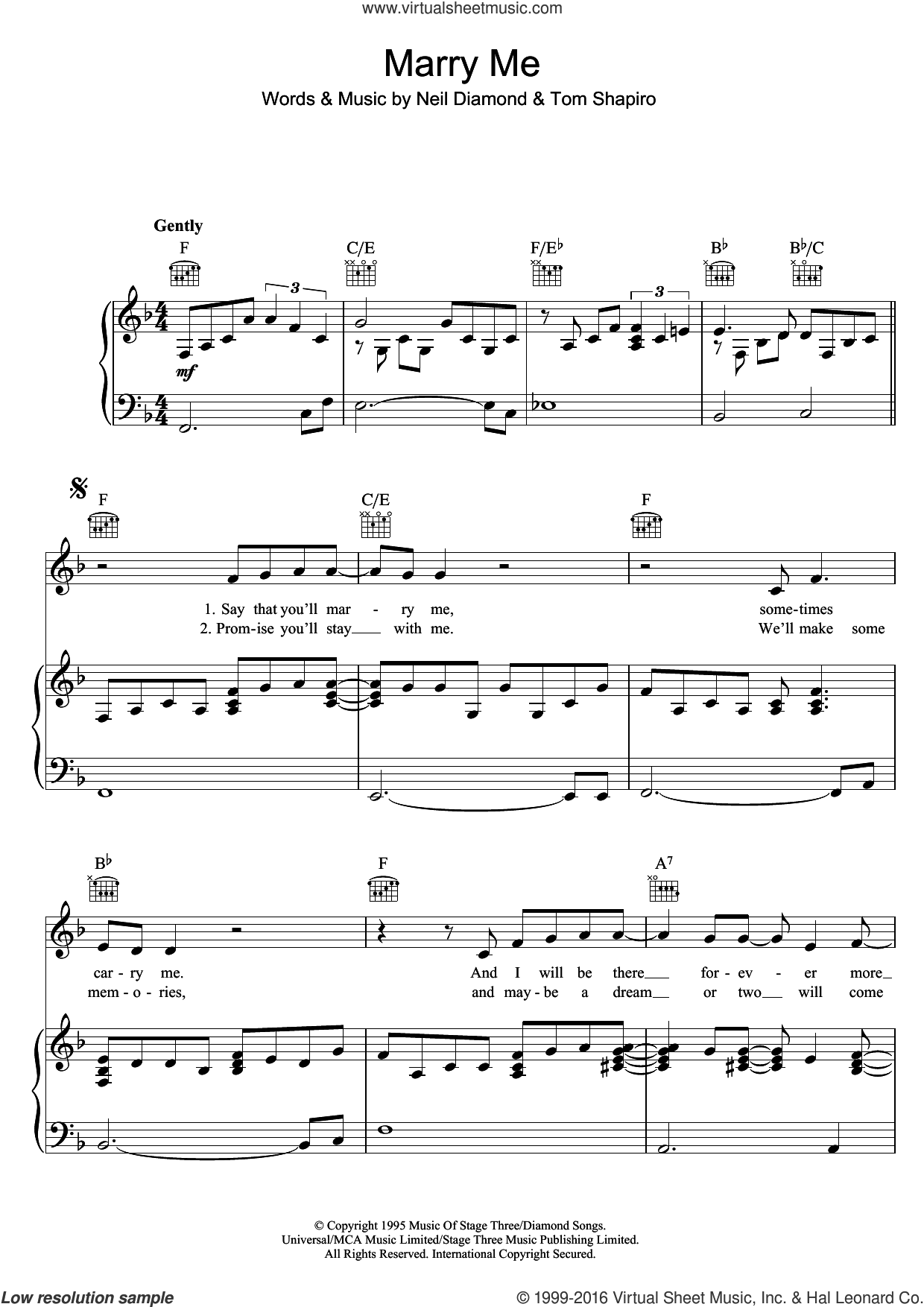 Marry Me sheet music for voice, piano or guitar by Neil Diamond and Tom Shapiro, wedding score, intermediate skill level
