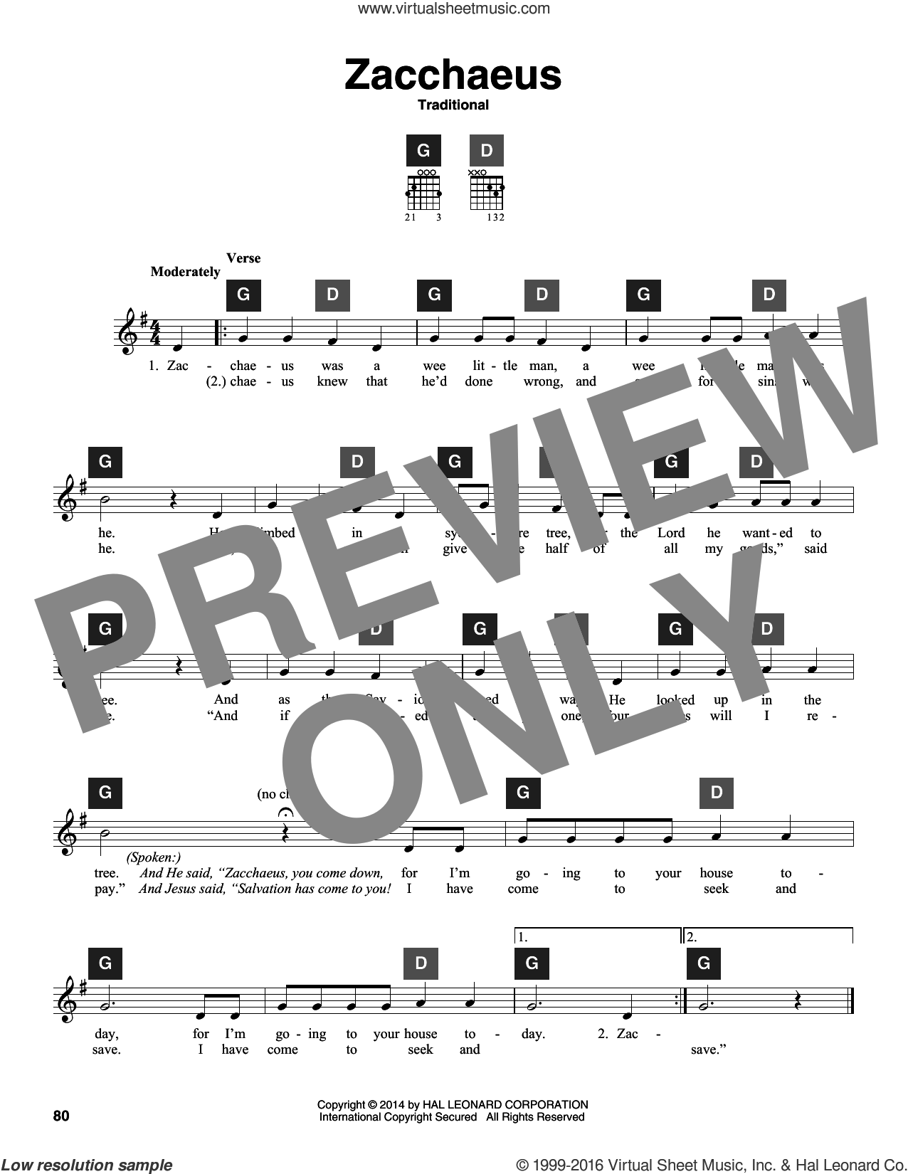 Zacchaeus sheet music for guitar solo (ChordBuddy system)