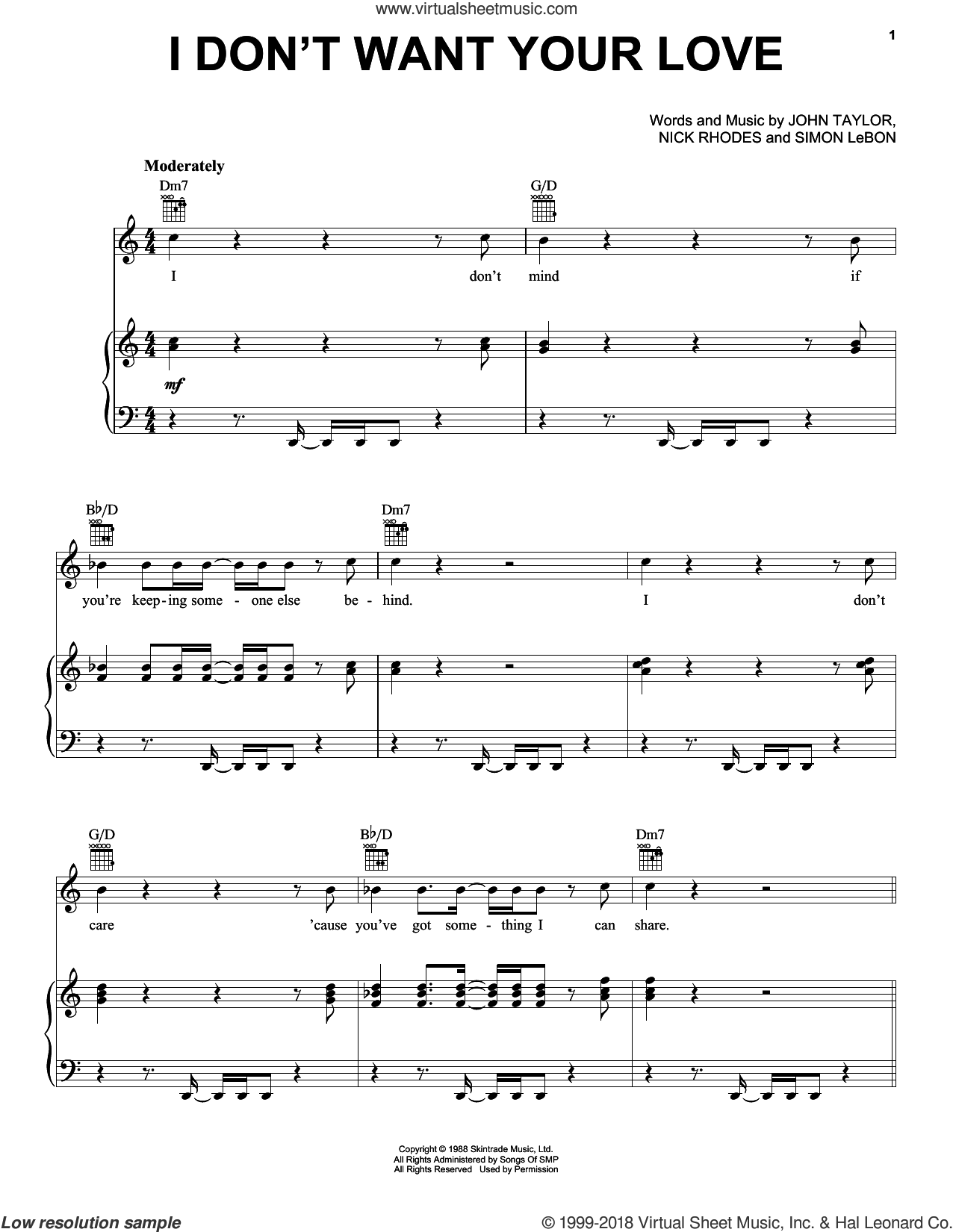 I Don't Want Your Love sheet music for voice, piano or guitar by Duran Duran and John Taylor, intermediate voice, piano or guitar. Score Image Preview.