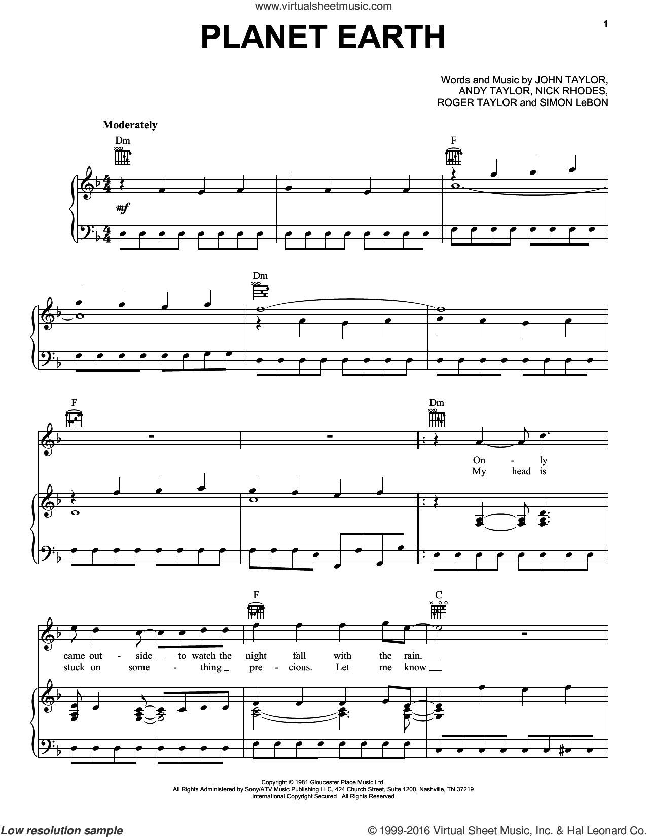 Planet Earth sheet music for voice, piano or guitar by Duran Duran, Andrew Taylor, John Taylor, Nick Rhodes, Roger Taylor and Simon LeBon, intermediate