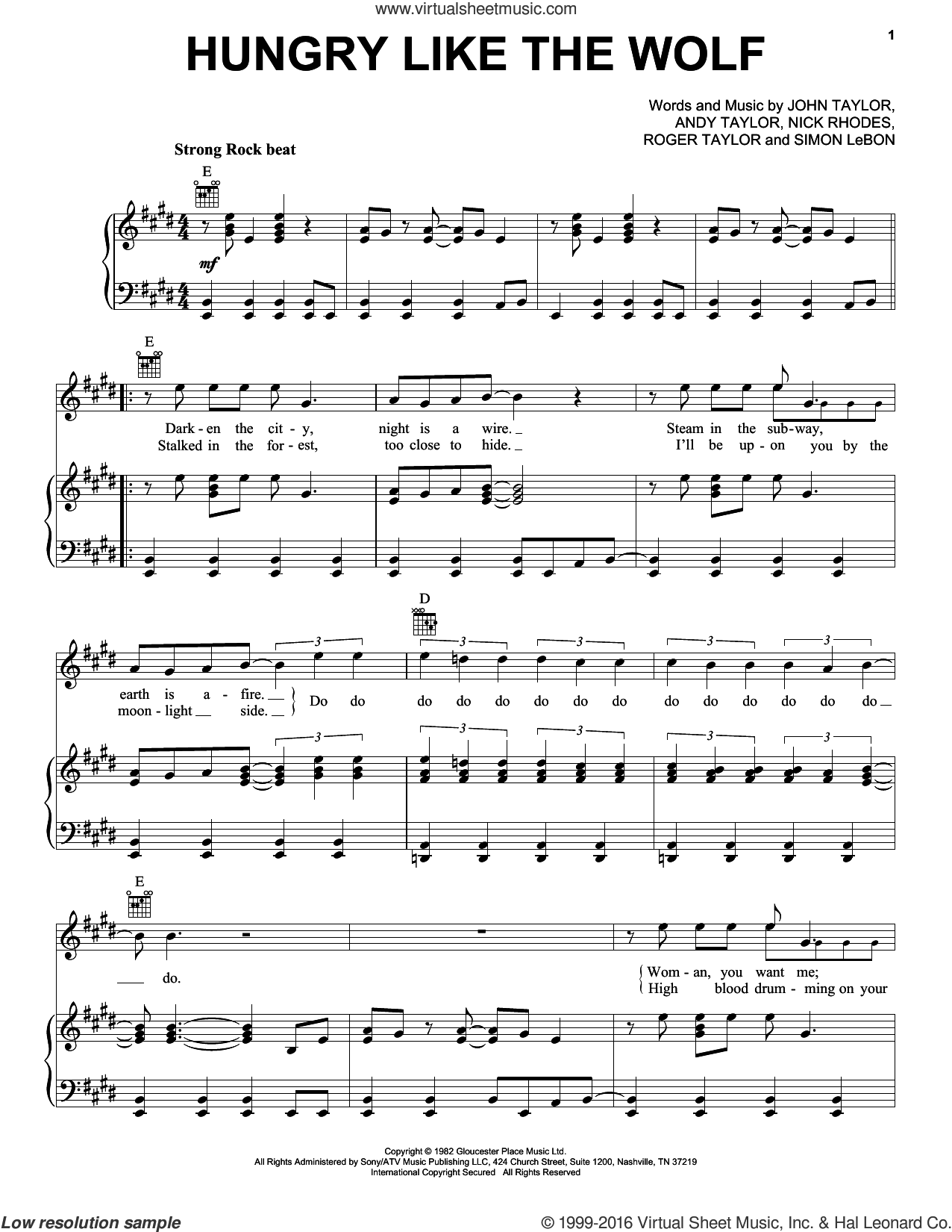 Hungry Like The Wolf sheet music for voice, piano or guitar by Duran Duran, Andrew Taylor, John Taylor, Nick Rhodes, Roger Taylor and Simon LeBon, intermediate skill level