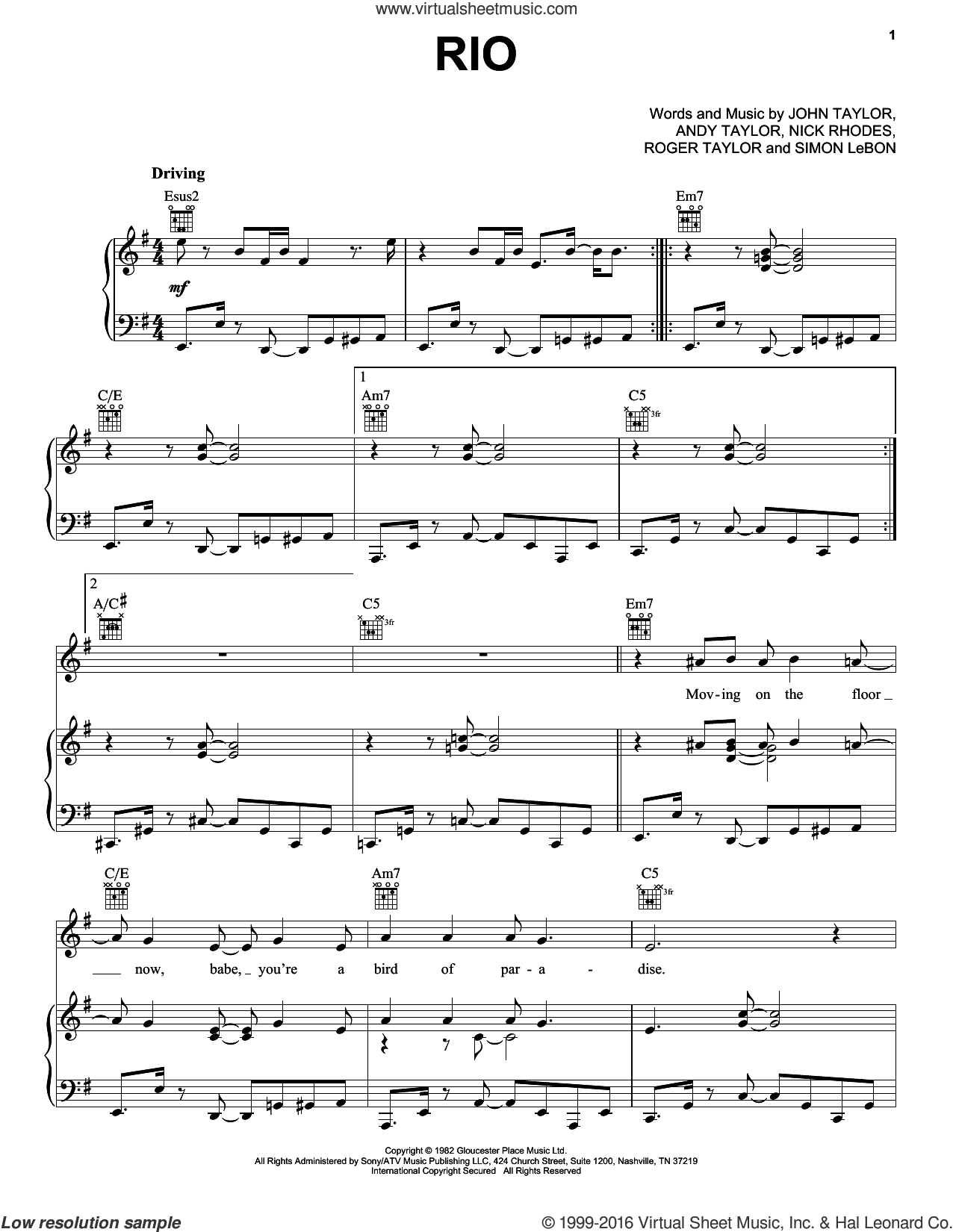 Rio sheet music for voice, piano or guitar by Duran Duran and John Taylor. Score Image Preview.
