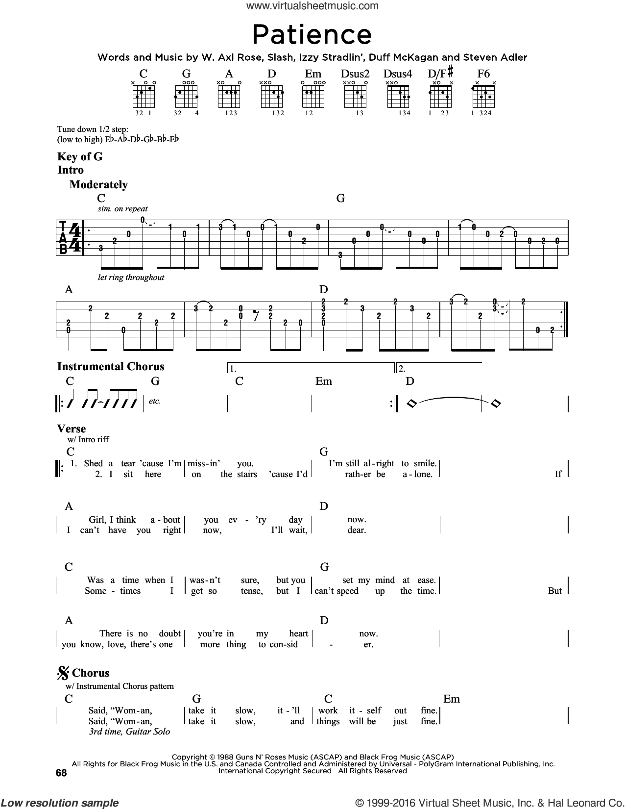 Patience sheet music for guitar solo (lead sheet) by Guns N' Roses, Axl Rose, Duff McKagan, Slash and Steven Adler, intermediate guitar (lead sheet). Score Image Preview.