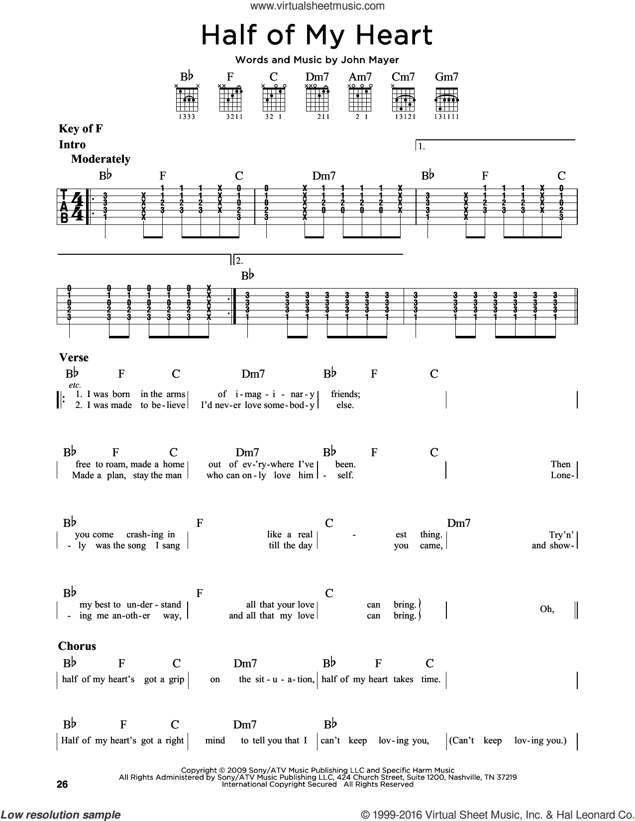 Half Of My Heart sheet music for guitar solo (lead sheet) by John Mayer