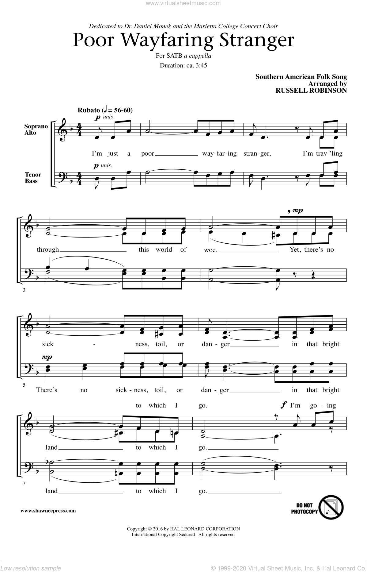 Poor Wayfaring Stranger sheet music for choir and piano (SATB) by Russell Robinson