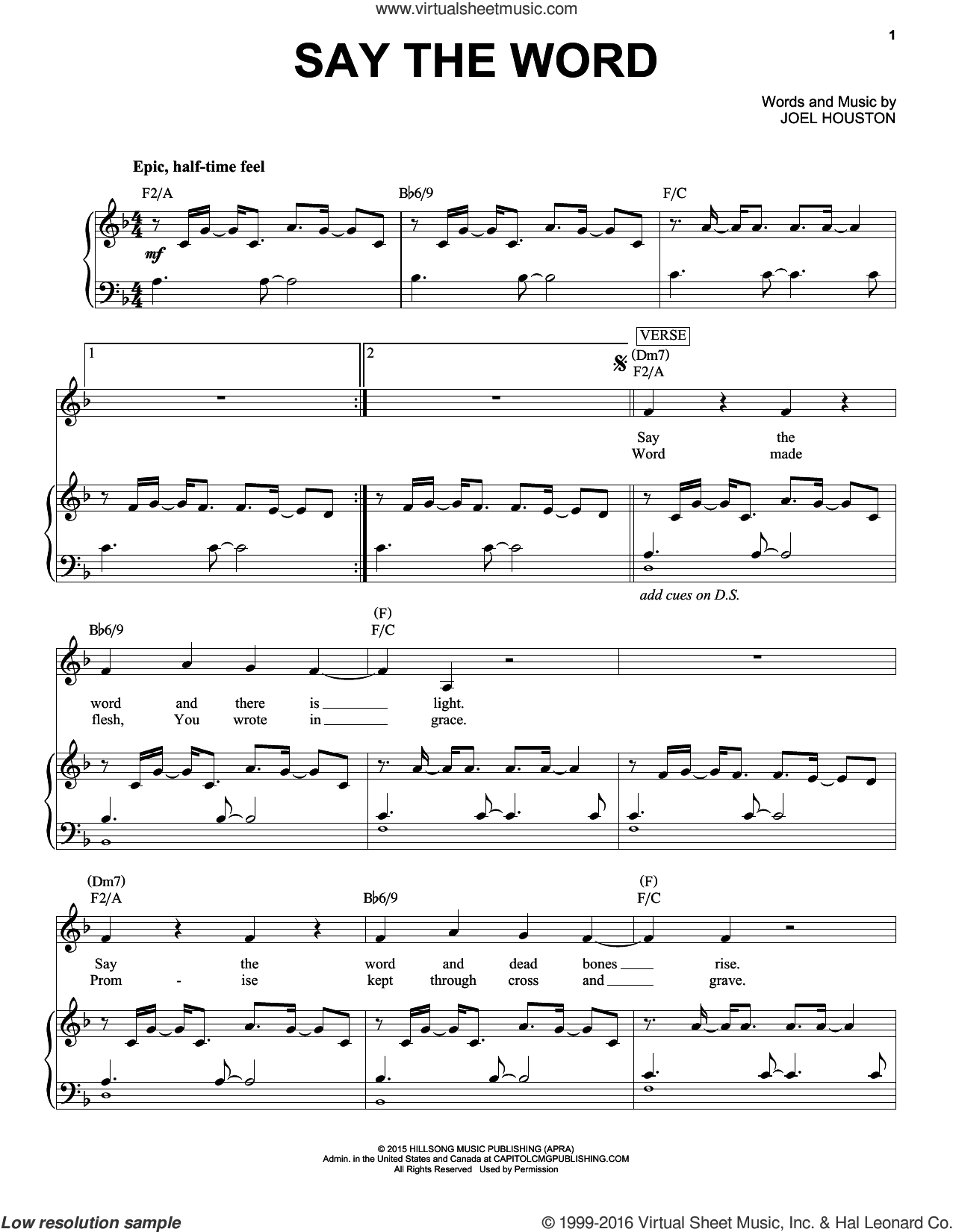 Say The Word sheet music for voice and piano by Hillsong United and Joel Houston, intermediate skill level