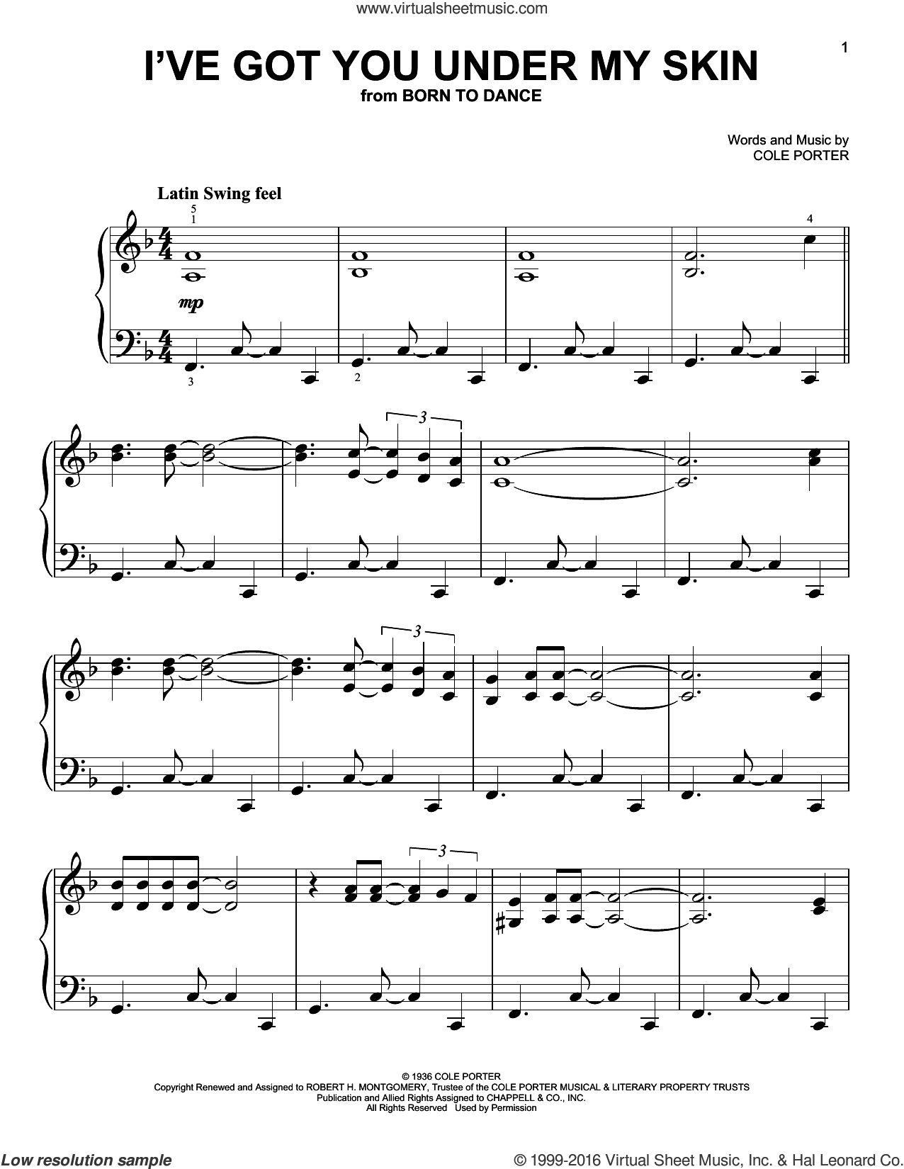 I've Got You Under My Skin sheet music for piano solo by Cole Porter, easy skill level