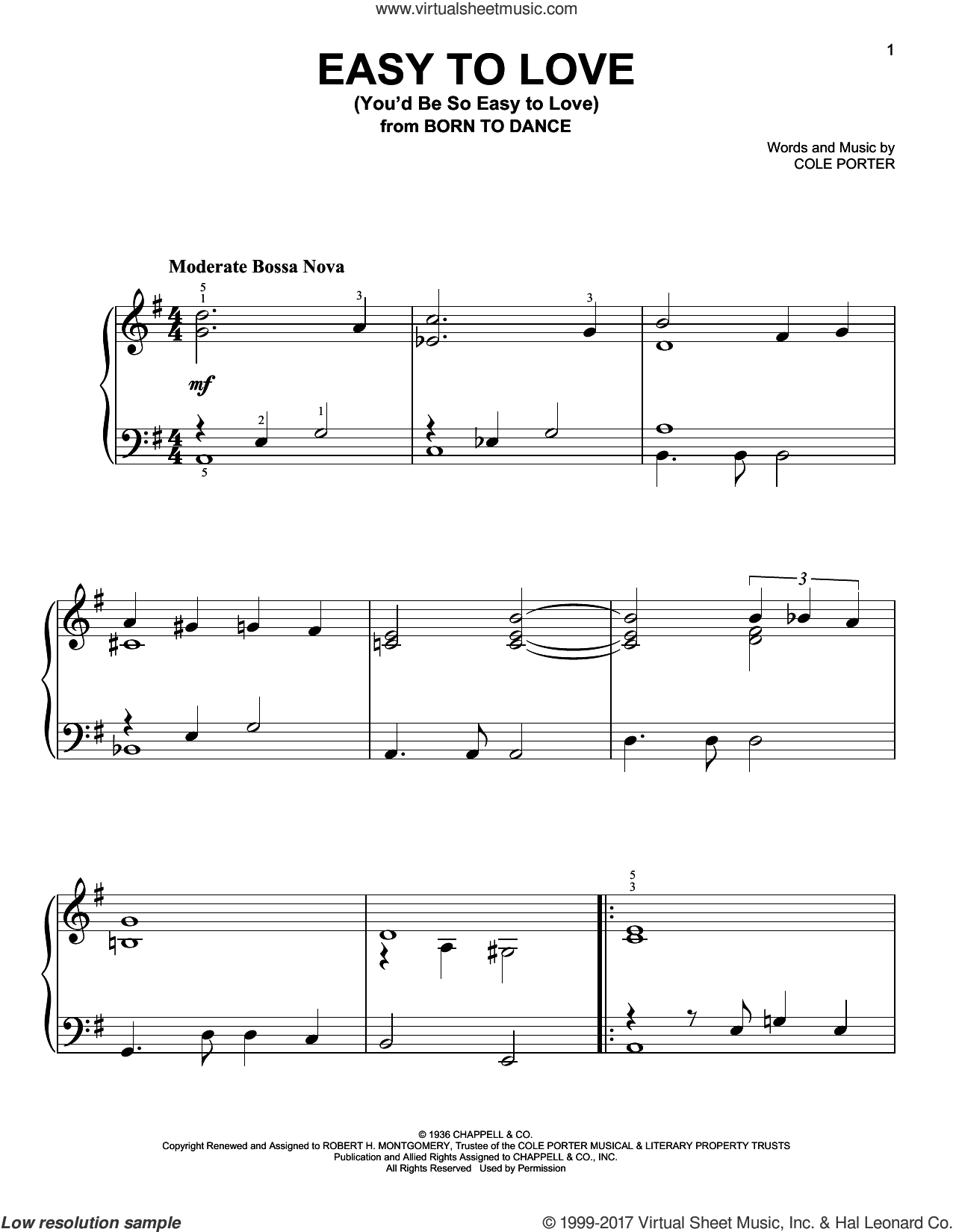 Easy To Love (You'd Be So Easy To Love) sheet music for piano solo by Cole Porter, easy. Score Image Preview.