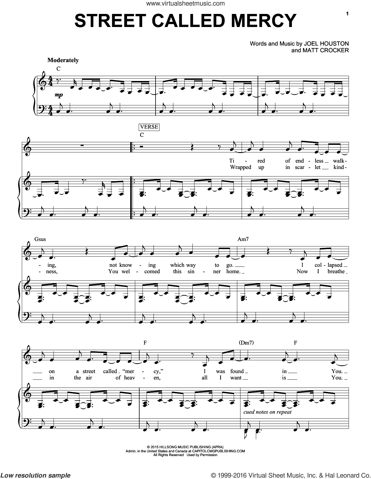 Street Called Mercy sheet music for voice and piano by Hillsong United, Joel Houston and Matt Crocker, intermediate