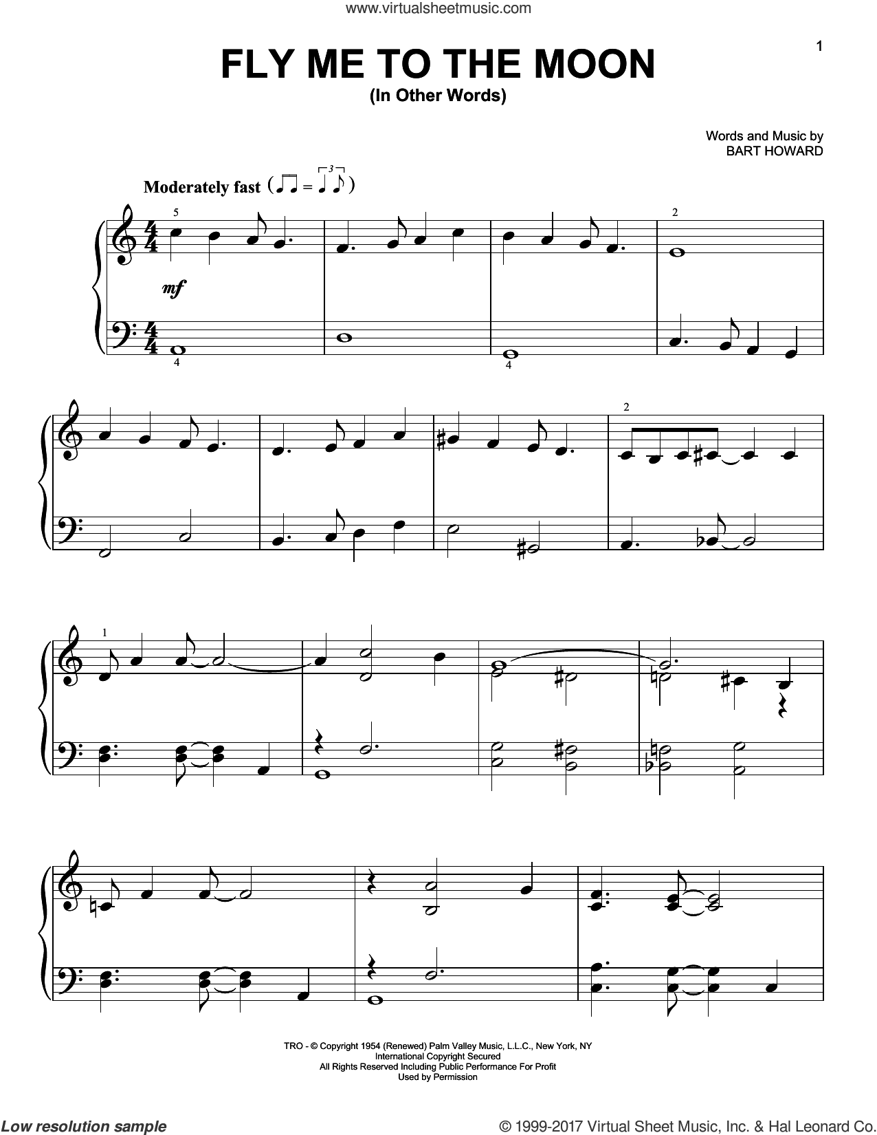 Fly Me To The Moon (In Other Words) sheet music for piano solo by Frank Sinatra, Tony Bennett and BART HOWARD, easy skill level