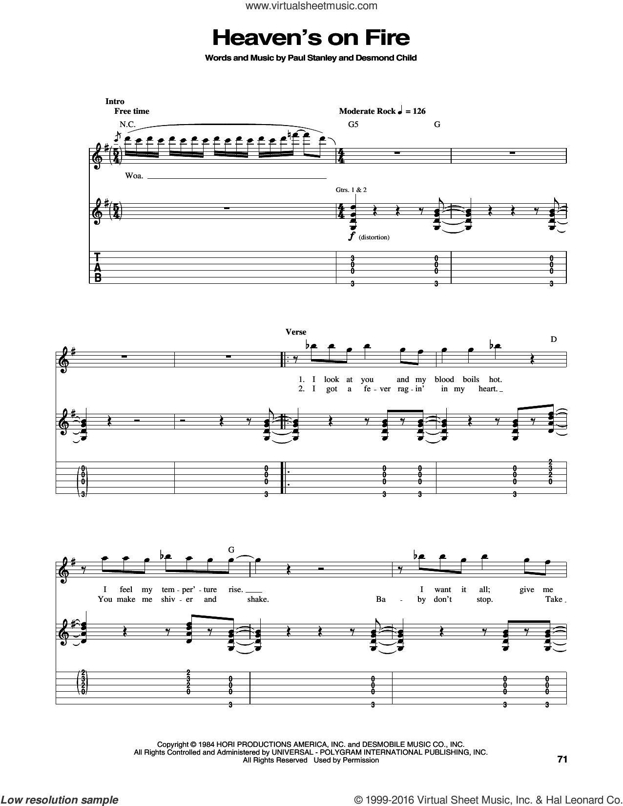 Heaven's On Fire sheet music for guitar (tablature) by Paul Stanley, KISS and Desmond Child. Score Image Preview.