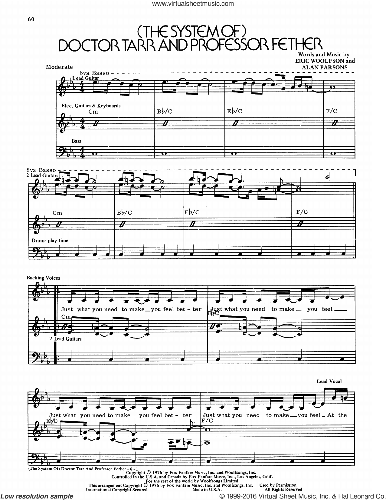 (The System Of) Doctor Tarr And Professor Fether sheet music for voice and piano by Alan Parsons Project, intermediate. Score Image Preview.