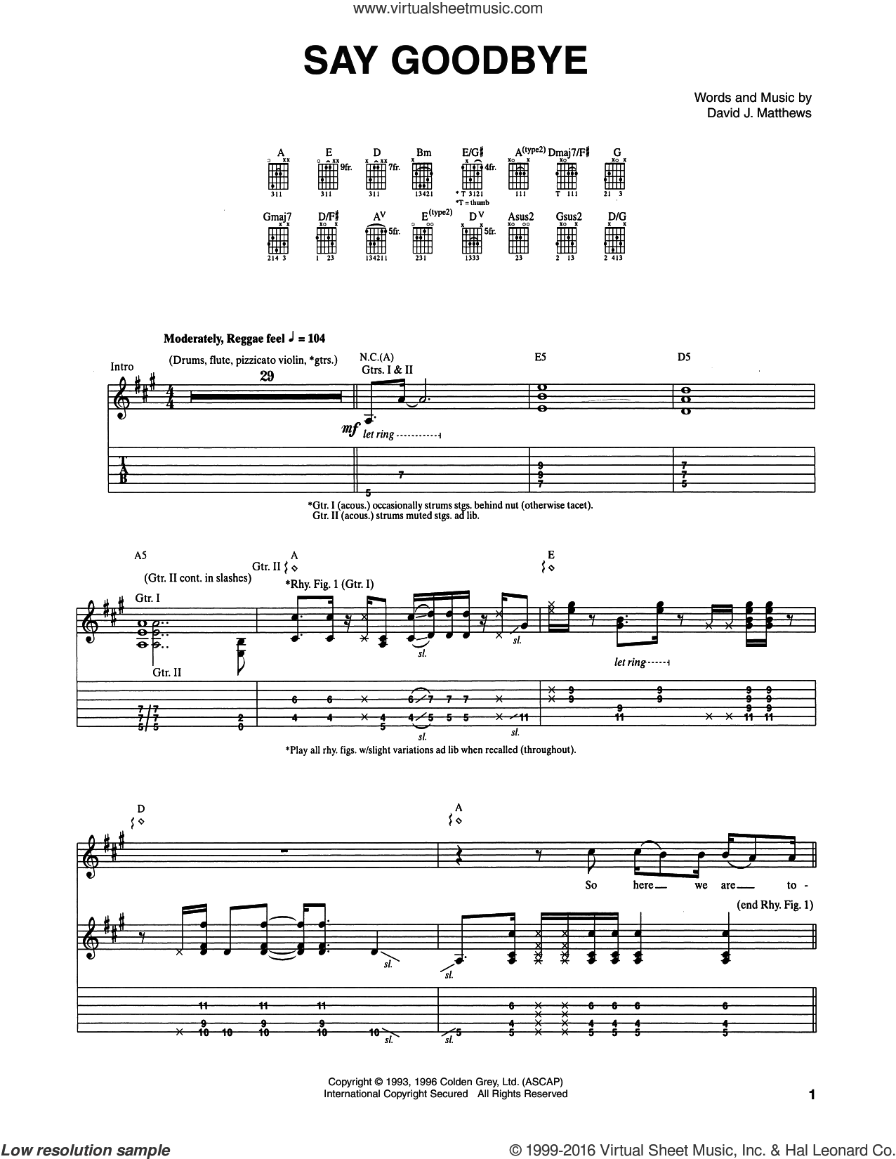 Say Goodbye sheet music for guitar (tablature) by Dave Matthews Band. Score Image Preview.